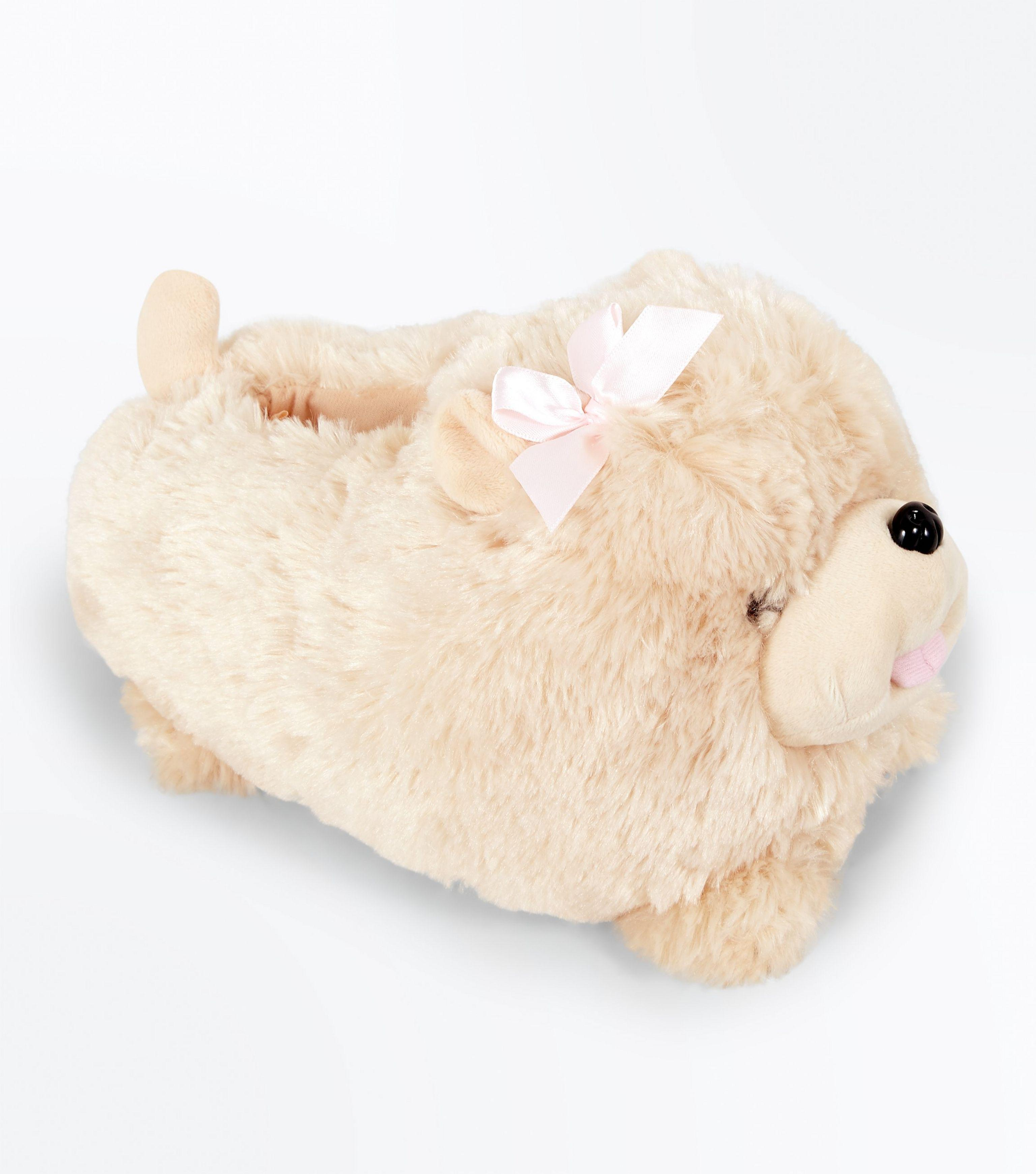 963703d1efdbc New Look Light Brown Fluffy Dog Slippers - Lyst