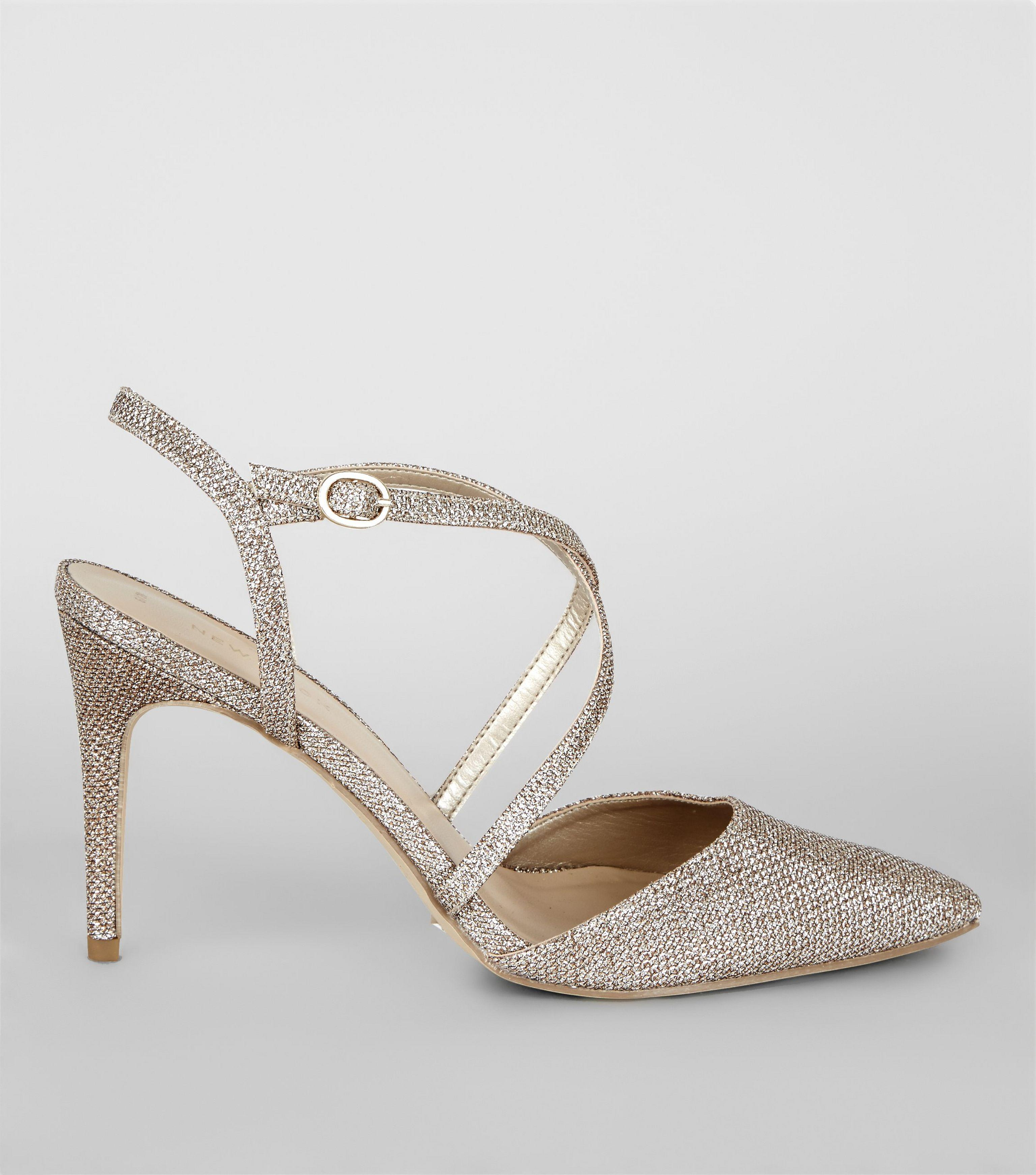 a84effb558651 New Look Gold Glitter Pointed Cross Strap Heels in Metallic - Lyst