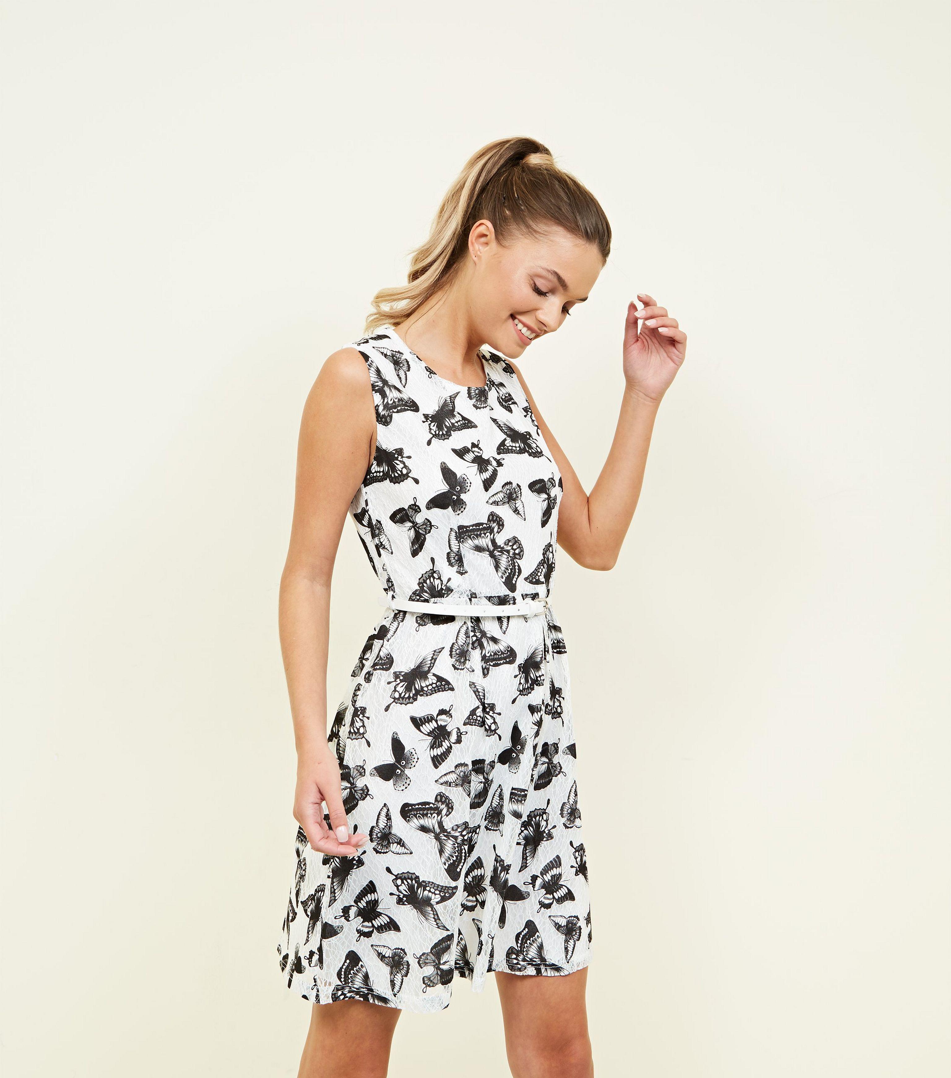 0fef3b1cf72 Mela White Butterfly Lace Belted Skater Dress in White - Lyst