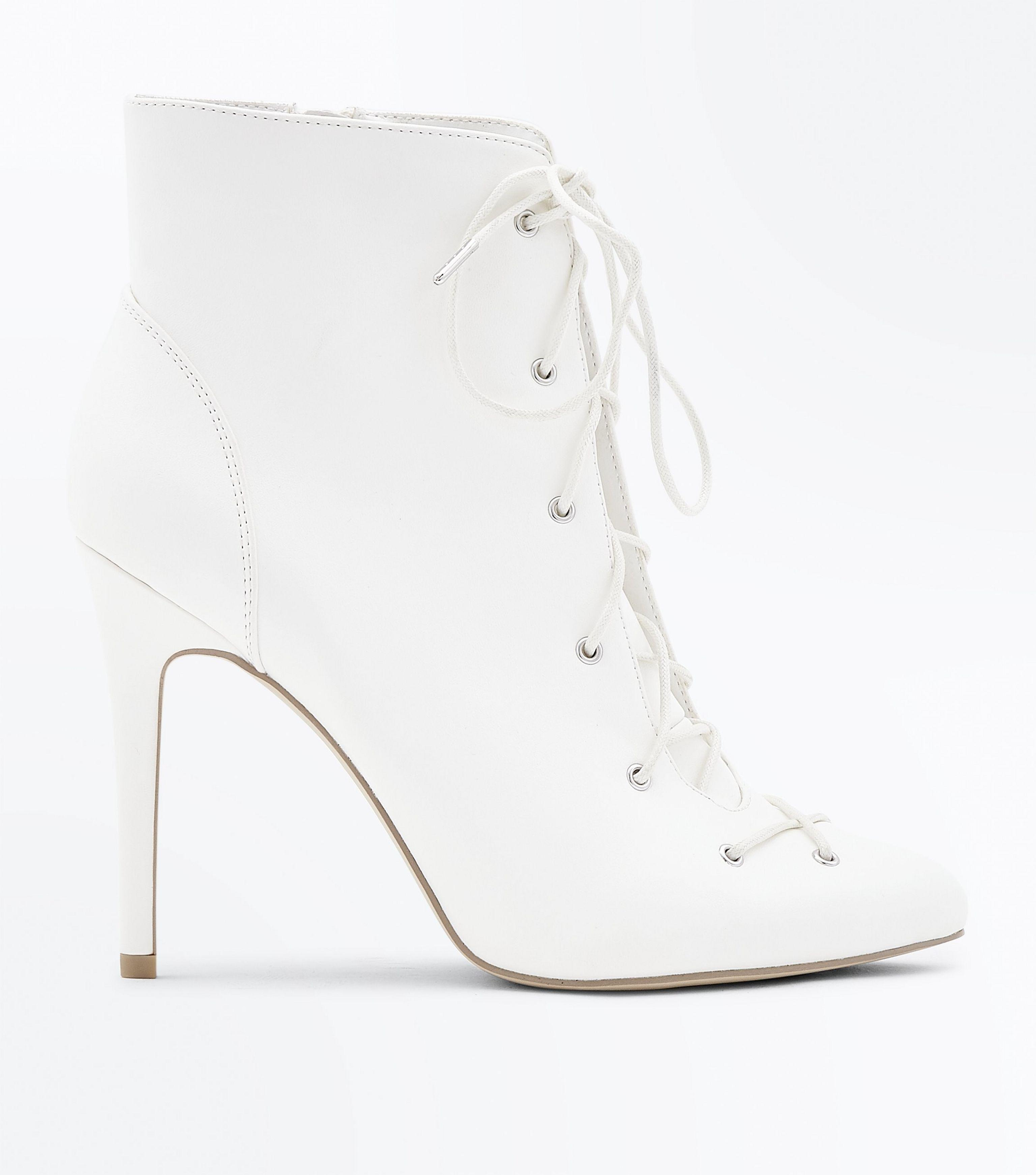 71fd66275b New Look Wide Fit White Stiletto Heel Lace Up Boots in White - Lyst