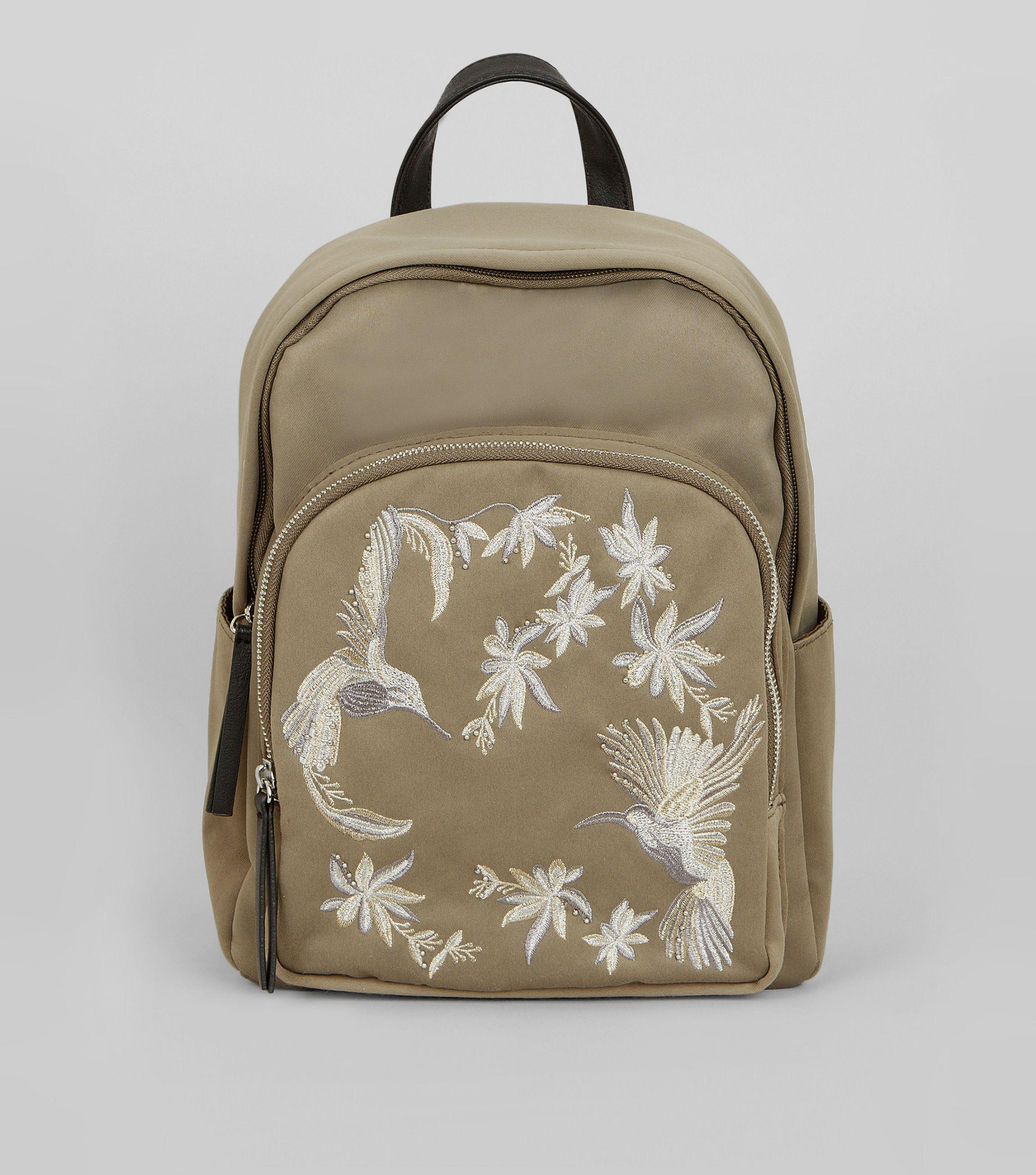 forefront of the times look for wide selection of colors Khaki Bird Embroidered Backpack