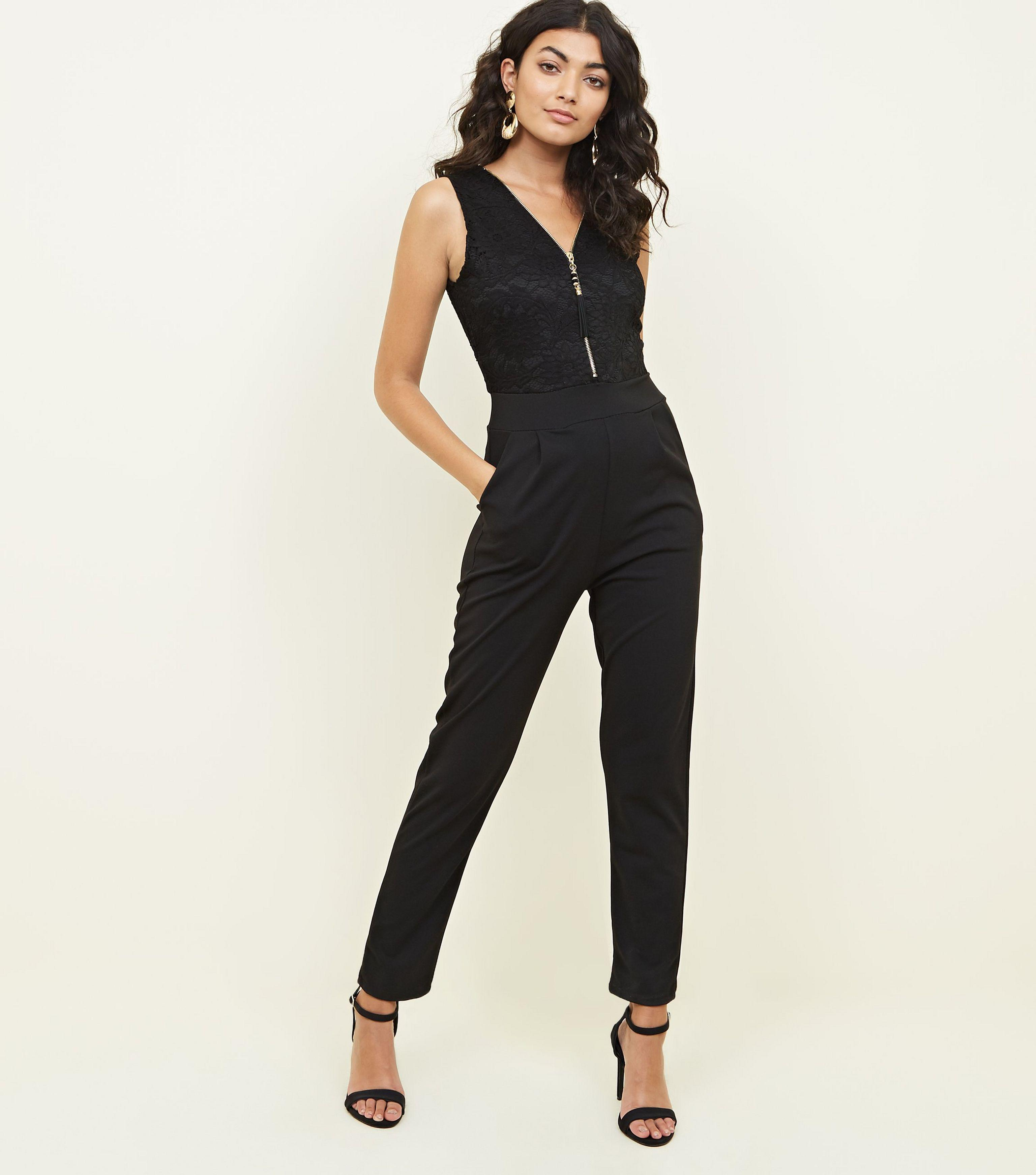 59e94ba6a544 Mela Black Lace Zip Bodice Jumpsuit in Black - Lyst