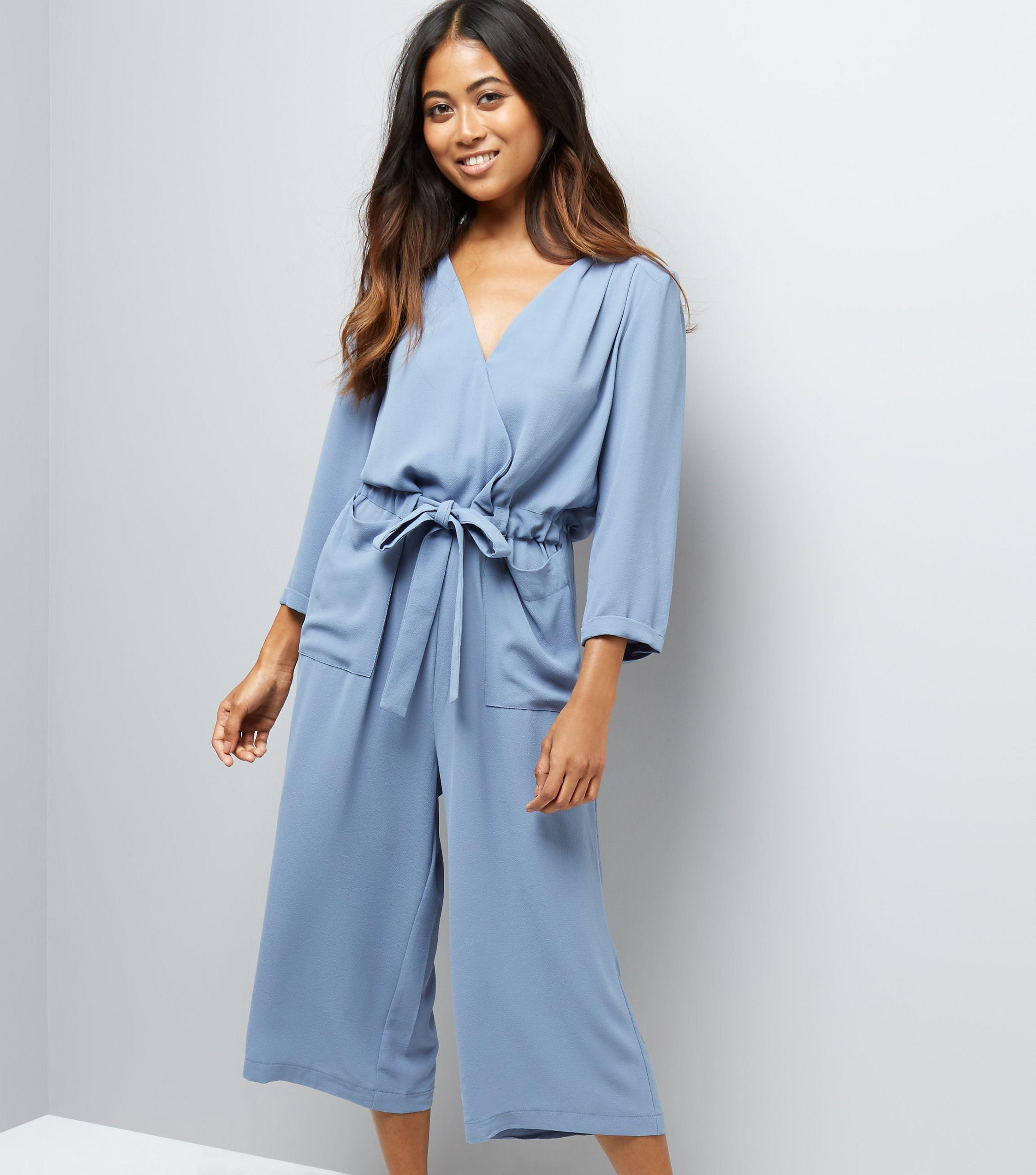 great deals on fashion discount for sale shop for original New Look Petite Grey Wrap Front Culotte Jumpsuit in Gray - Lyst