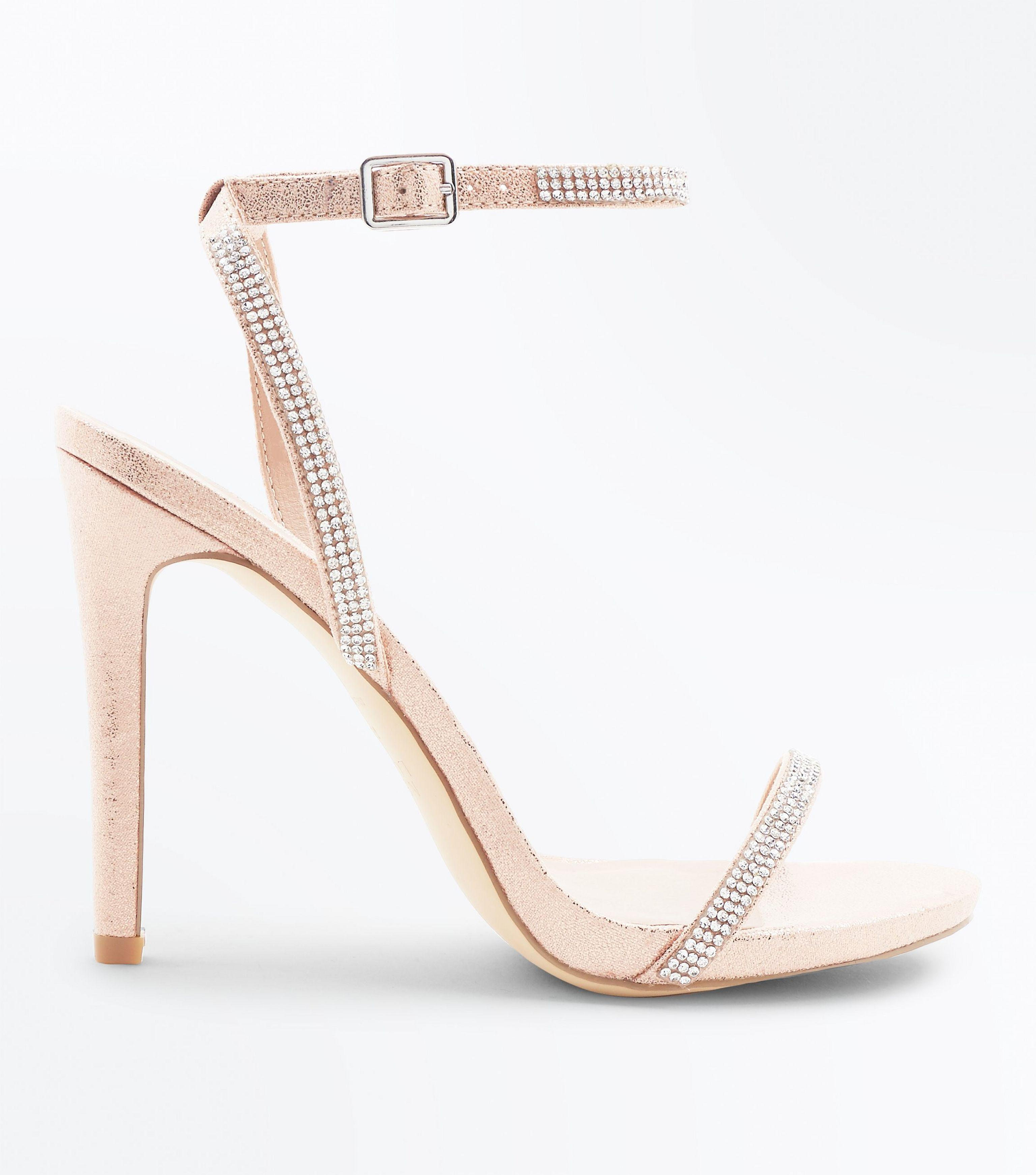 24b38bfa557 New Look Rose Gold Diamante Embellished Heeled Sandals in Pink - Lyst