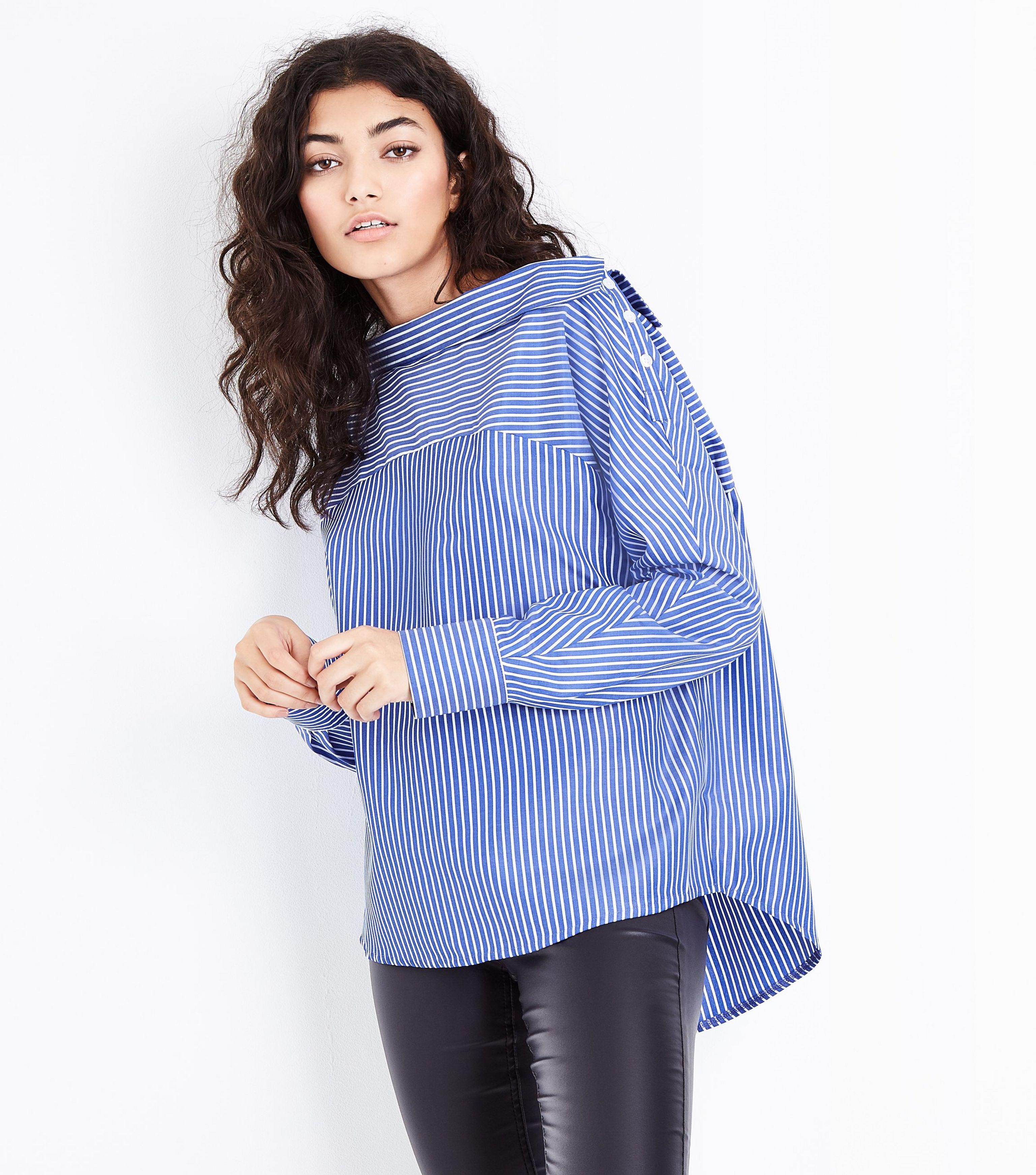 73910774dda321 New Look Blue Stripe Off The Shoulder Deconstructed Shirt in Blue - Lyst