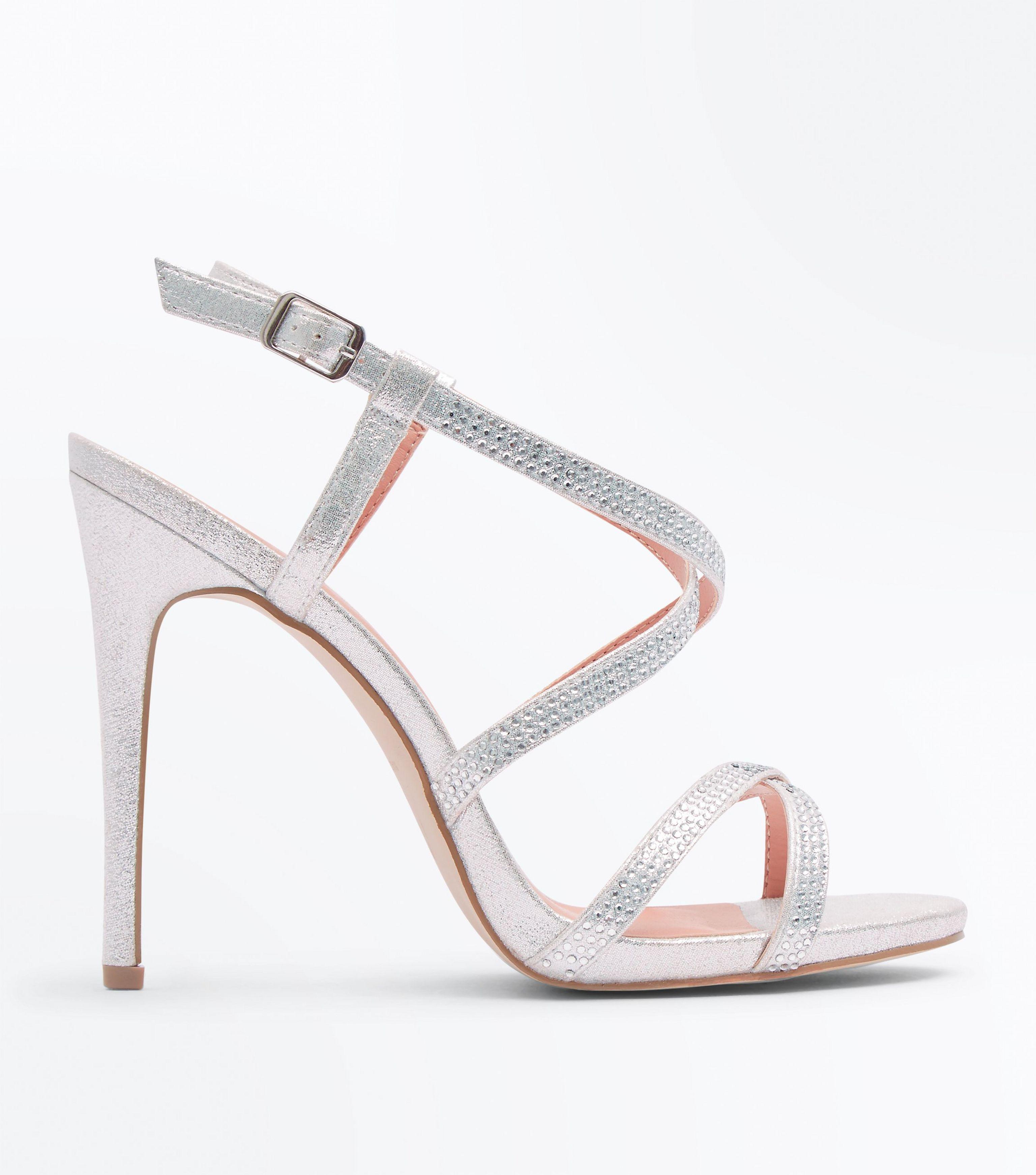 376e3a85b28 New Look Silver Strappy Diamante Stiletto Sandals in Metallic - Lyst