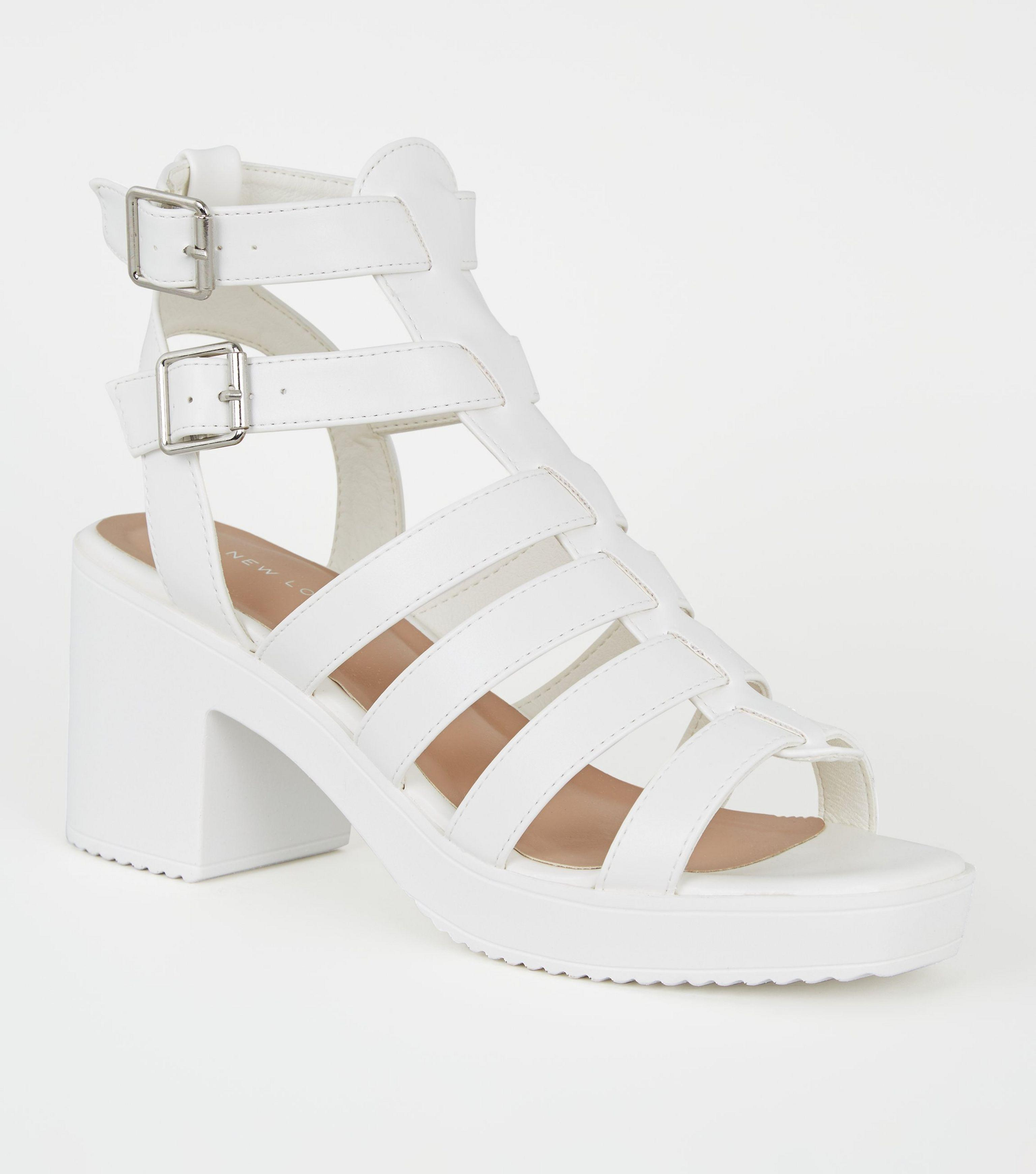 New Look White Leather-look Chunky