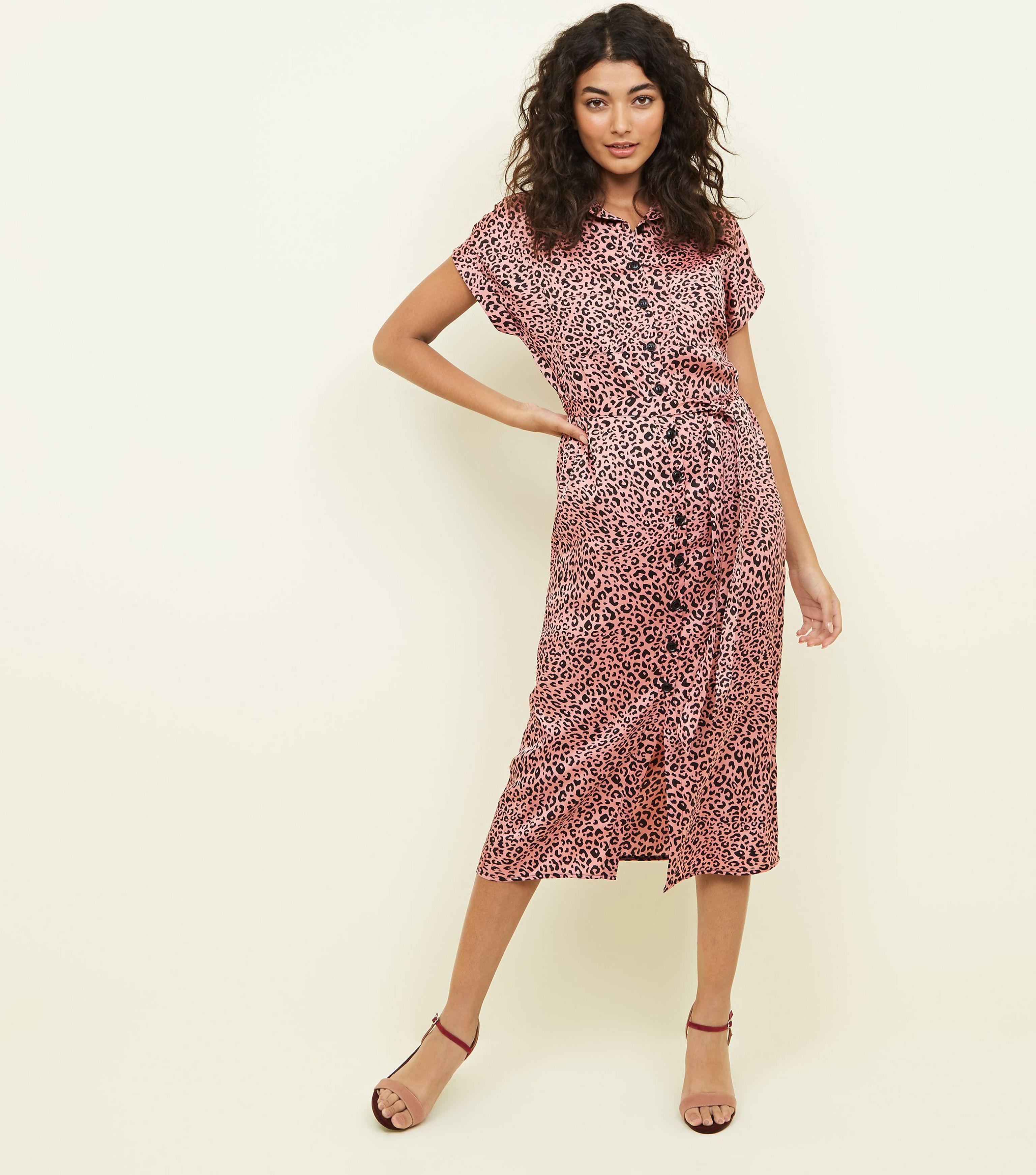 cd0a3afd7b5d New Look Pink Leopard Print Satin Midi Shirt Dress in Pink - Lyst