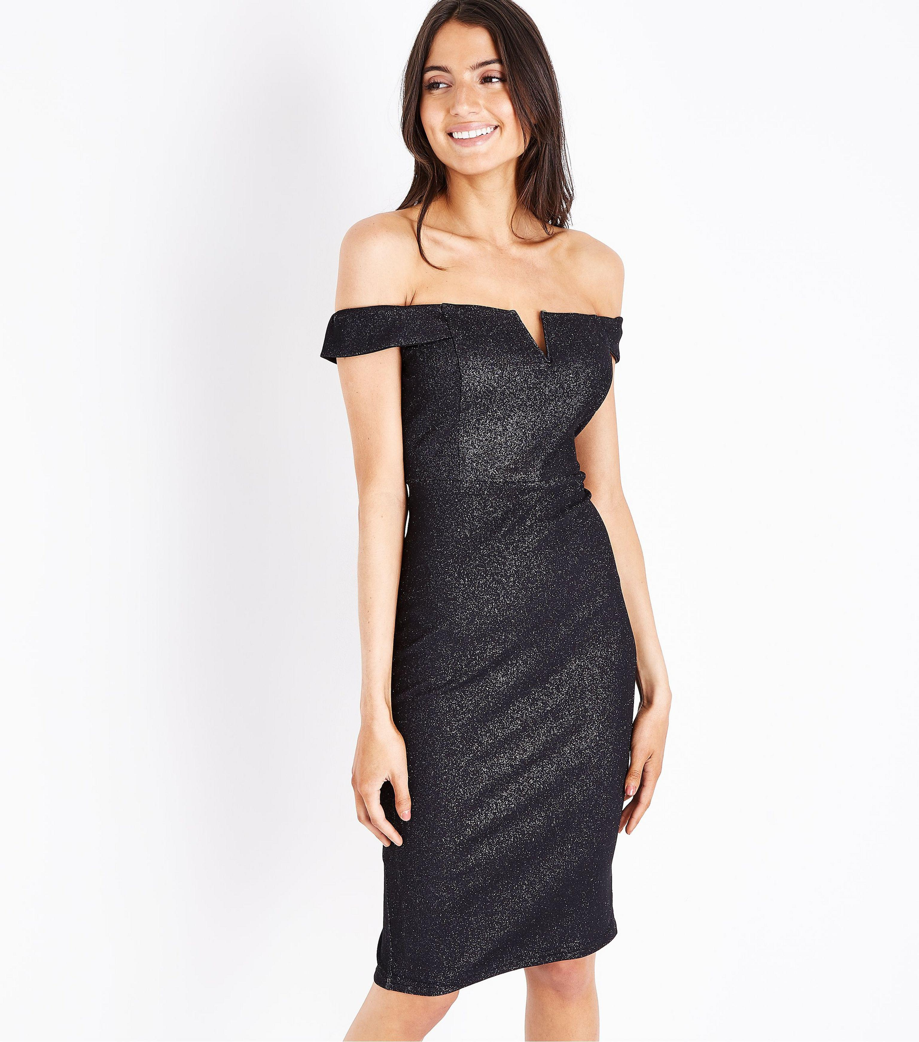 1f01bd82d8e7 AX Paris Black Glitter Bardot Neck Midi Dress in Black - Lyst