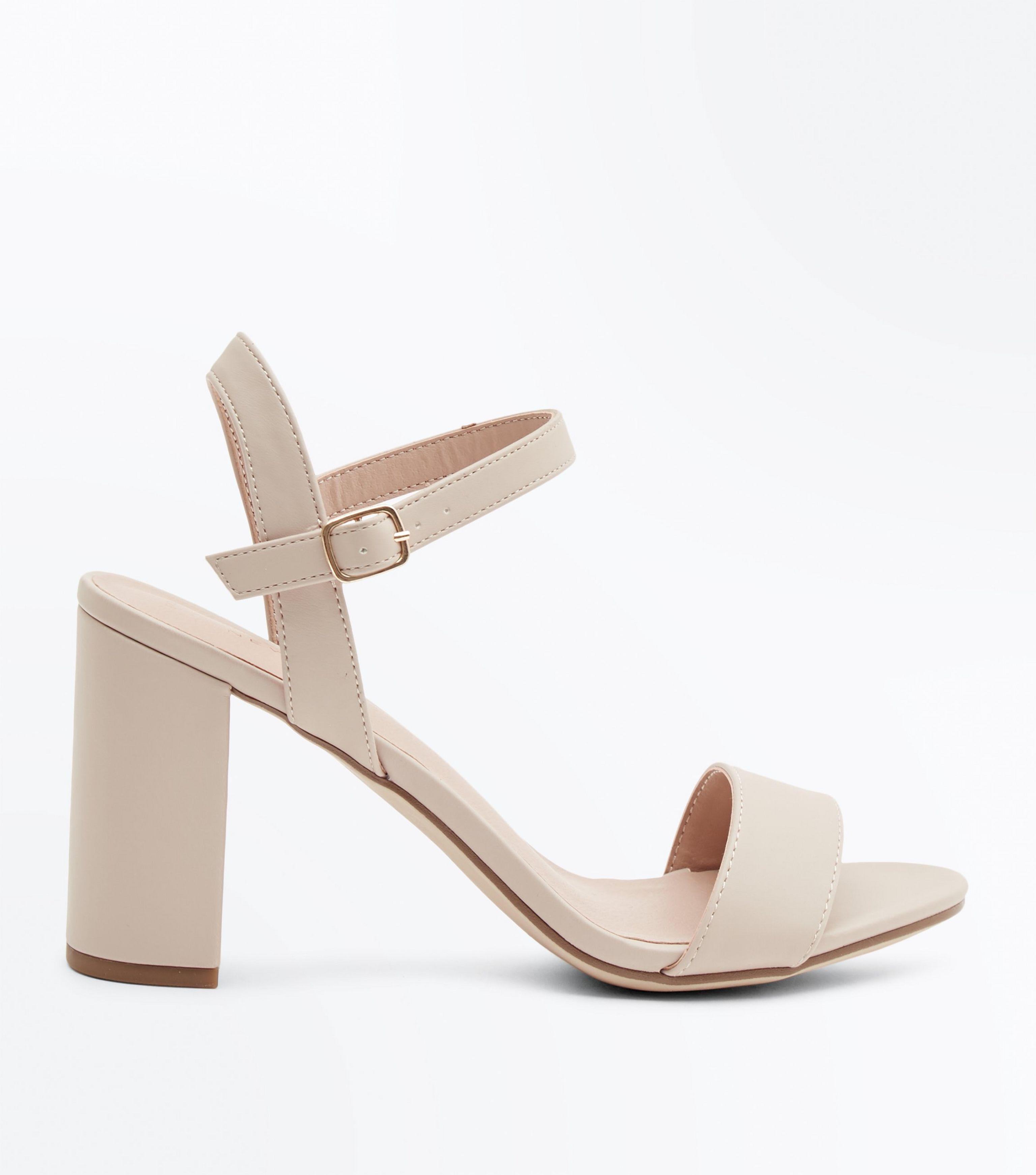 Nude Two Part Block Heel Sandals