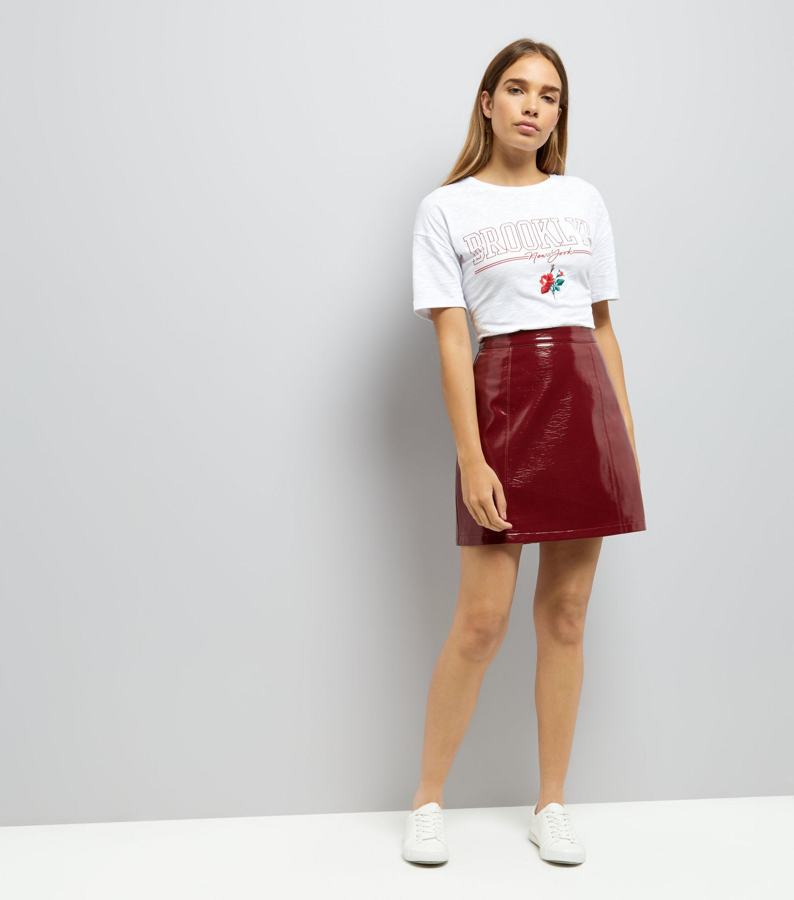nice shoes new list unequal in performance New Look Leather Dark Red Vinyl Mini Skirt - Lyst