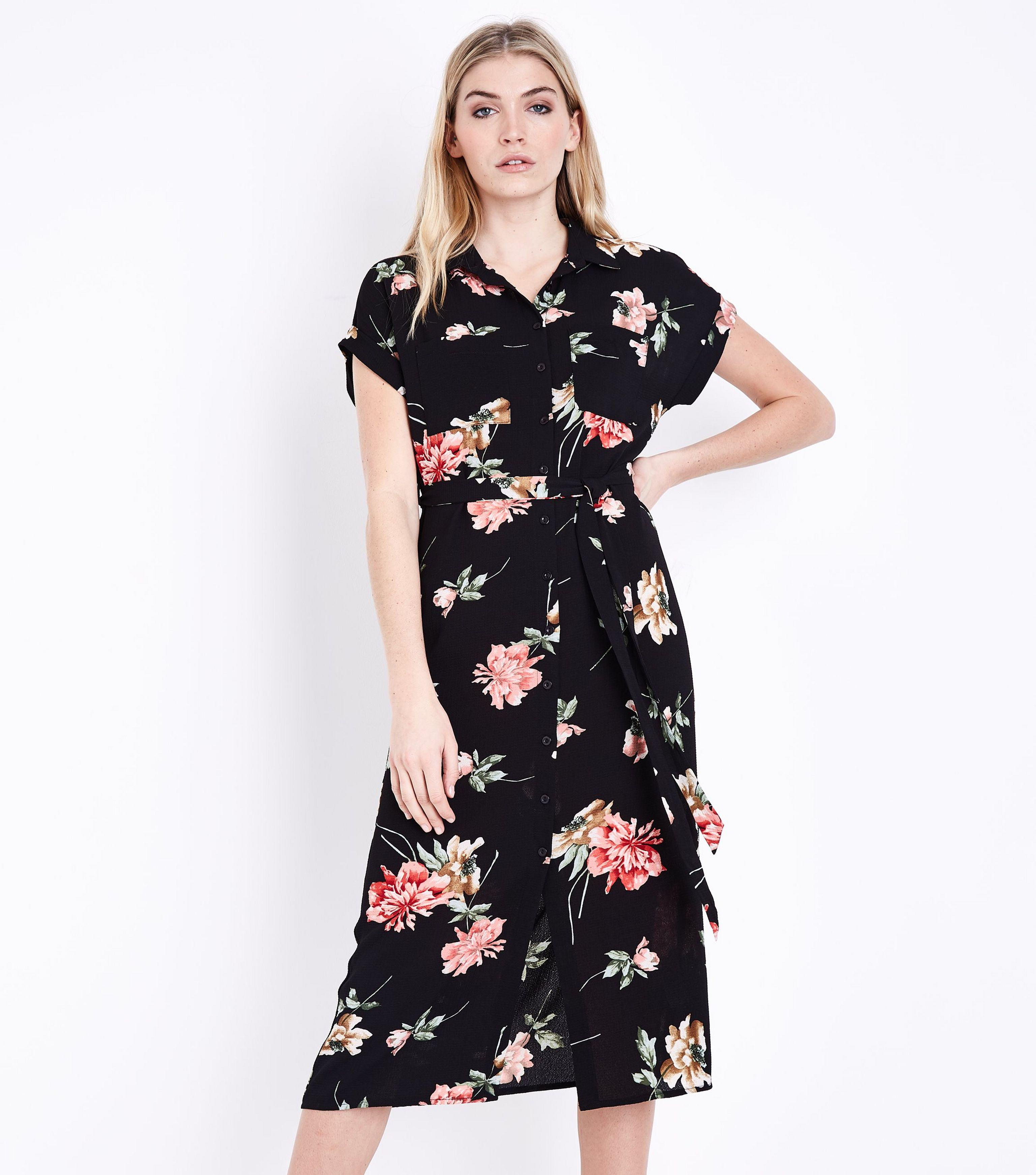 c89951a563d7 Black Floral Midi Shirt Dress