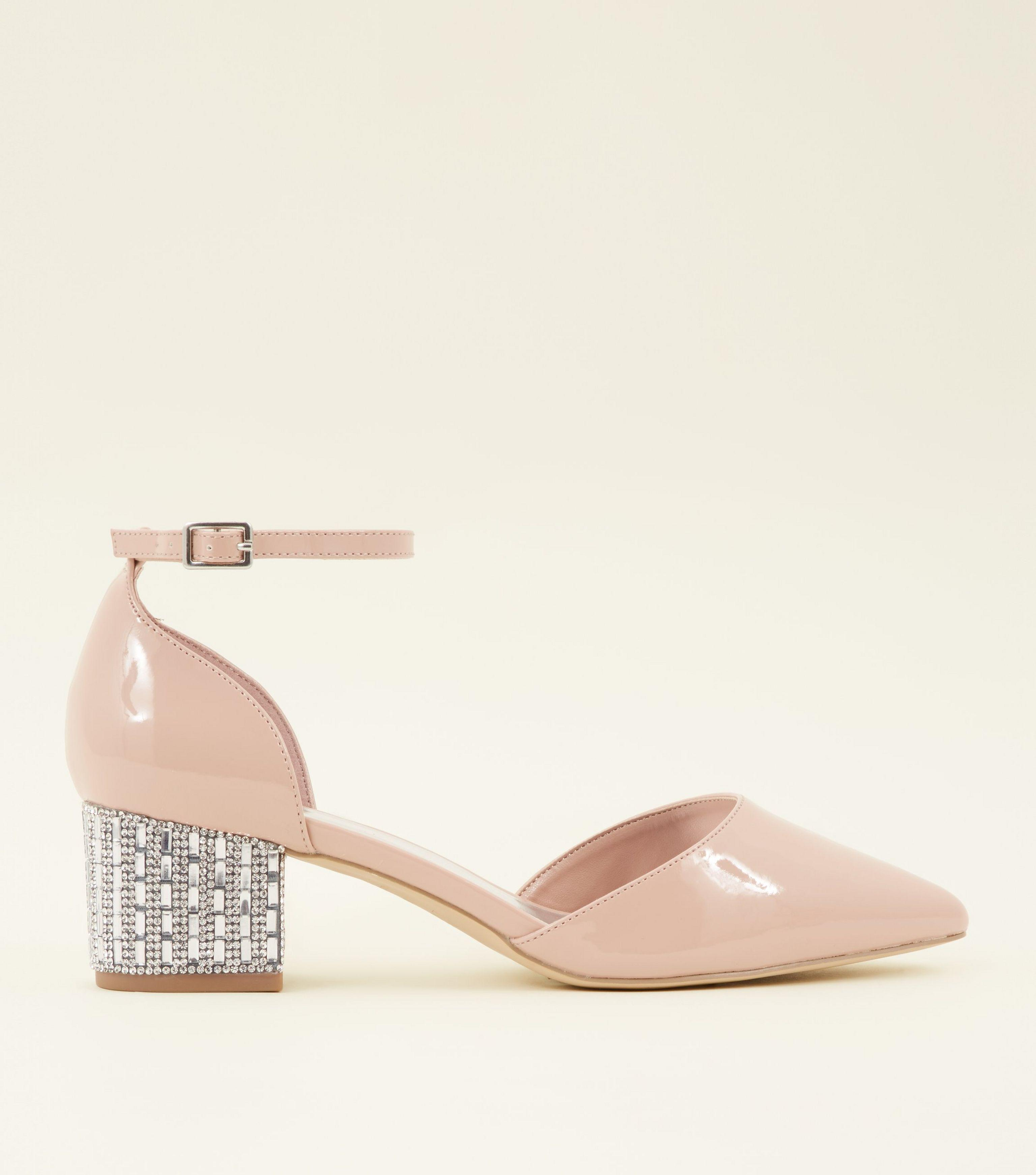 0642c0105ab New Look Wide Fit Nude Patent Diamanté Embellished Block Heels in ...