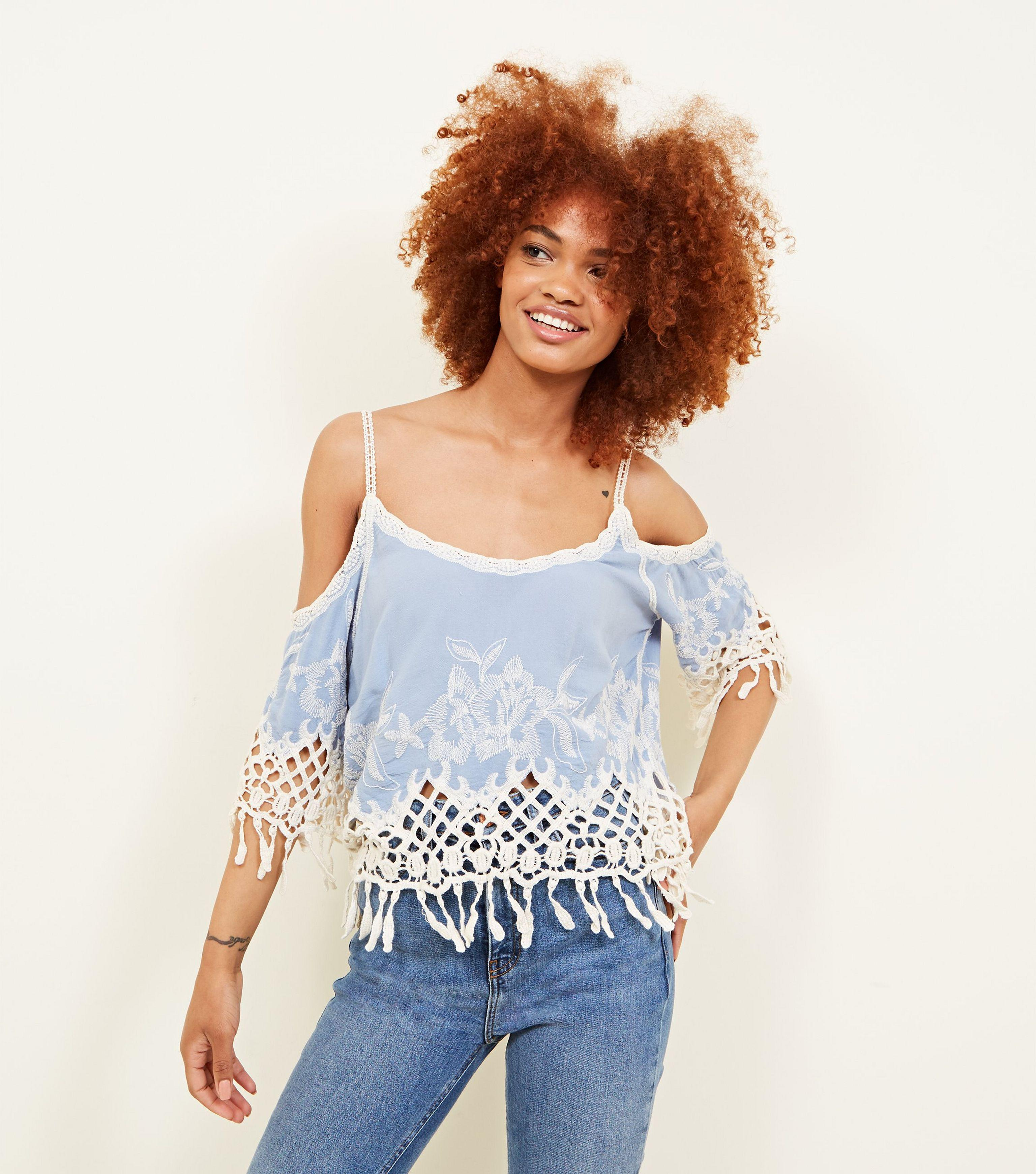c7c025838308f New Look Pale Blue Crochet Trim Cold Shoulder Top in Blue - Lyst