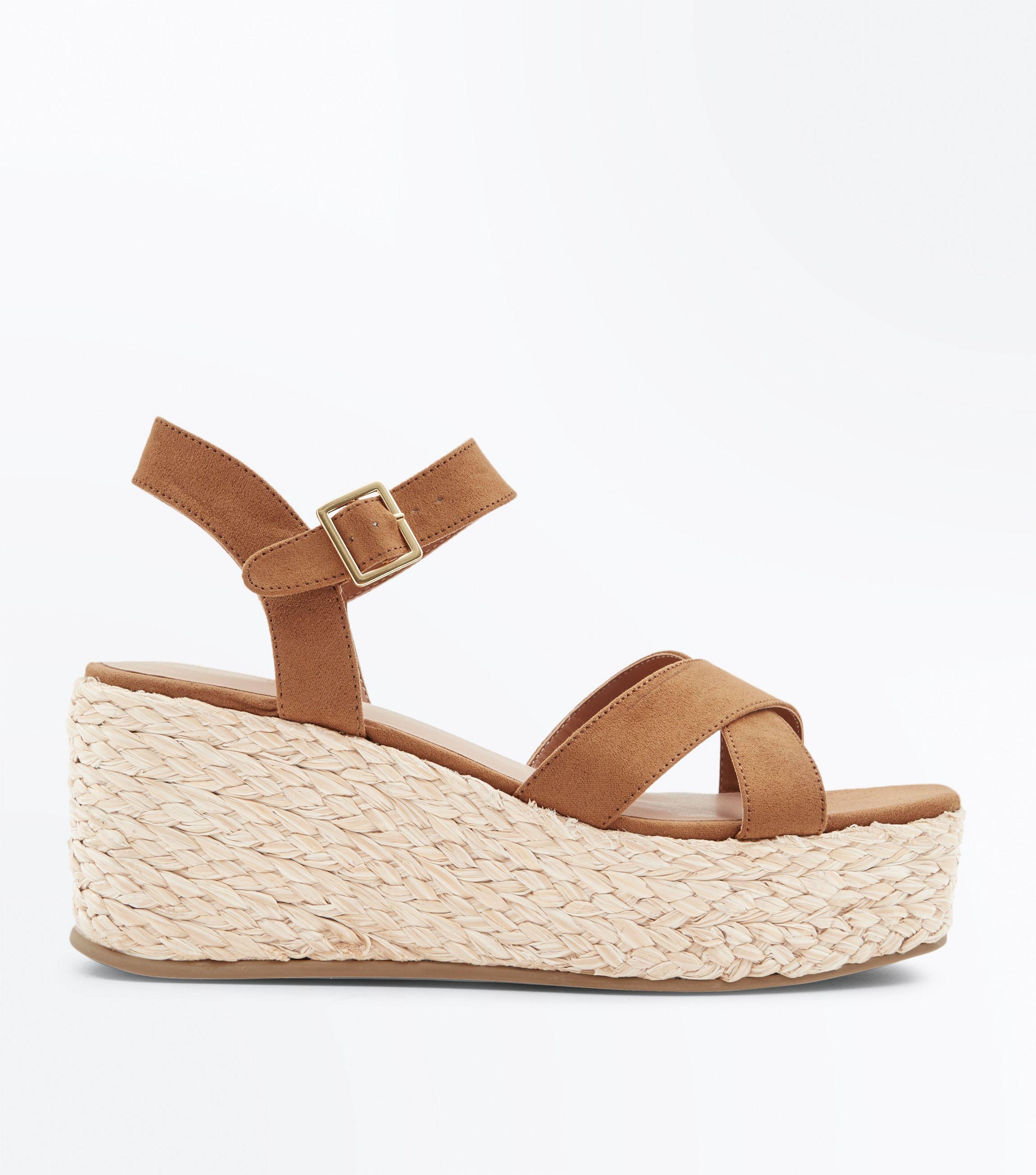26cdb27cfab New Look Tan Suedette Flatform Espadrille Sandals in Brown - Lyst