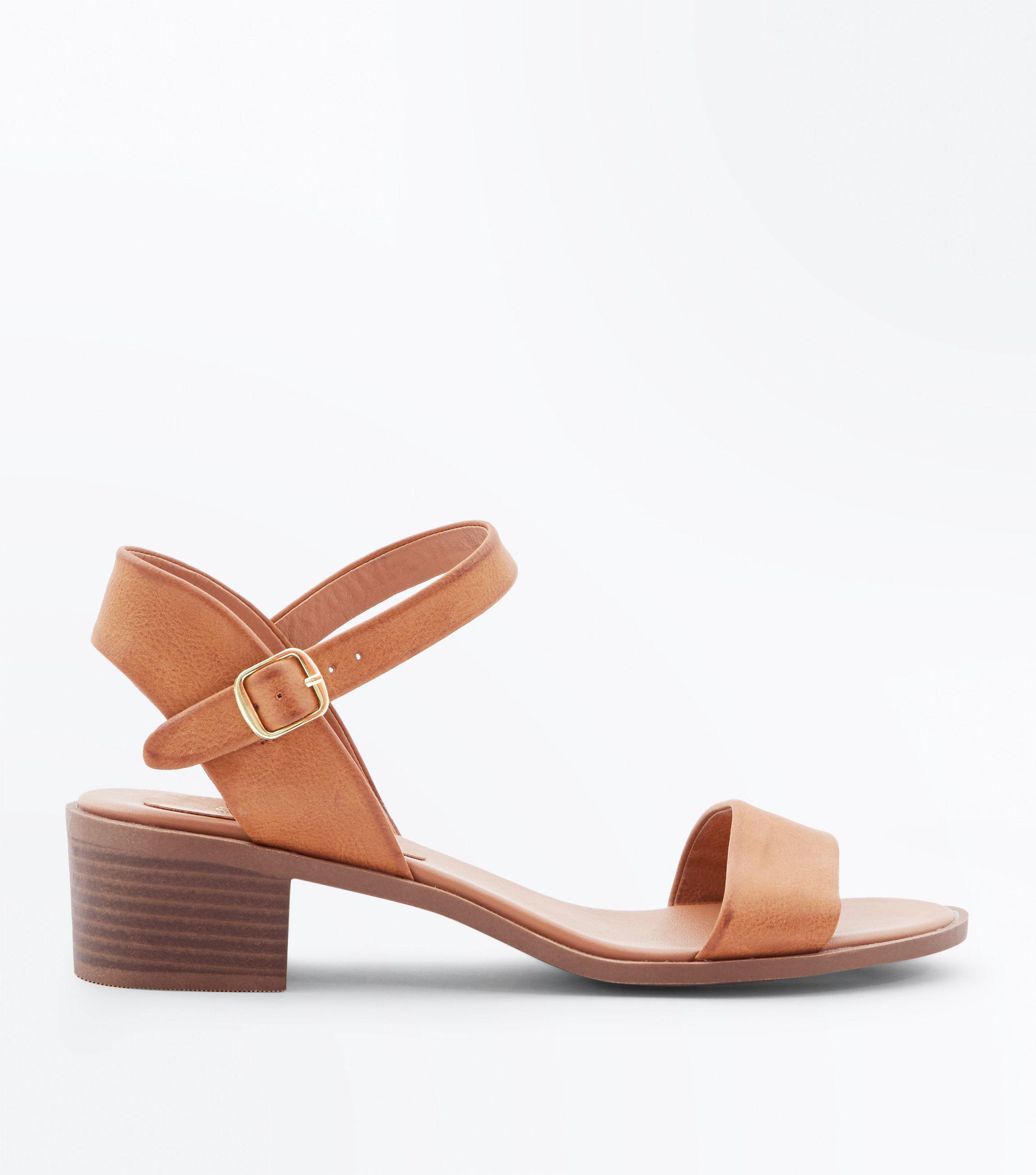 a4dc2cbf5ae New Look Wide Fit Tan Low Block Heel Sandals in Brown - Lyst