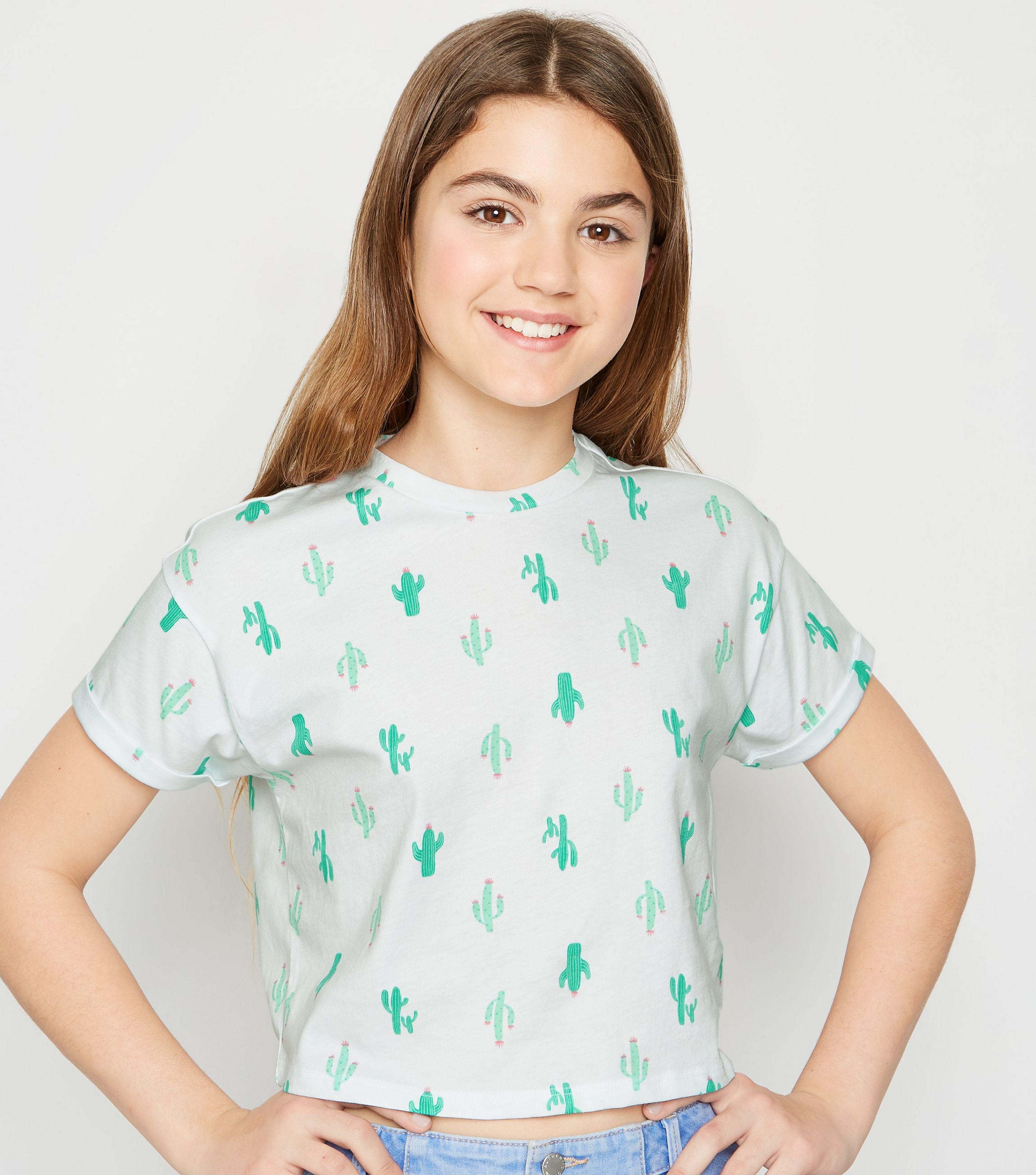 b6b60a5c6c2 New Look Girls White Cactus Print T-shirt in White - Lyst