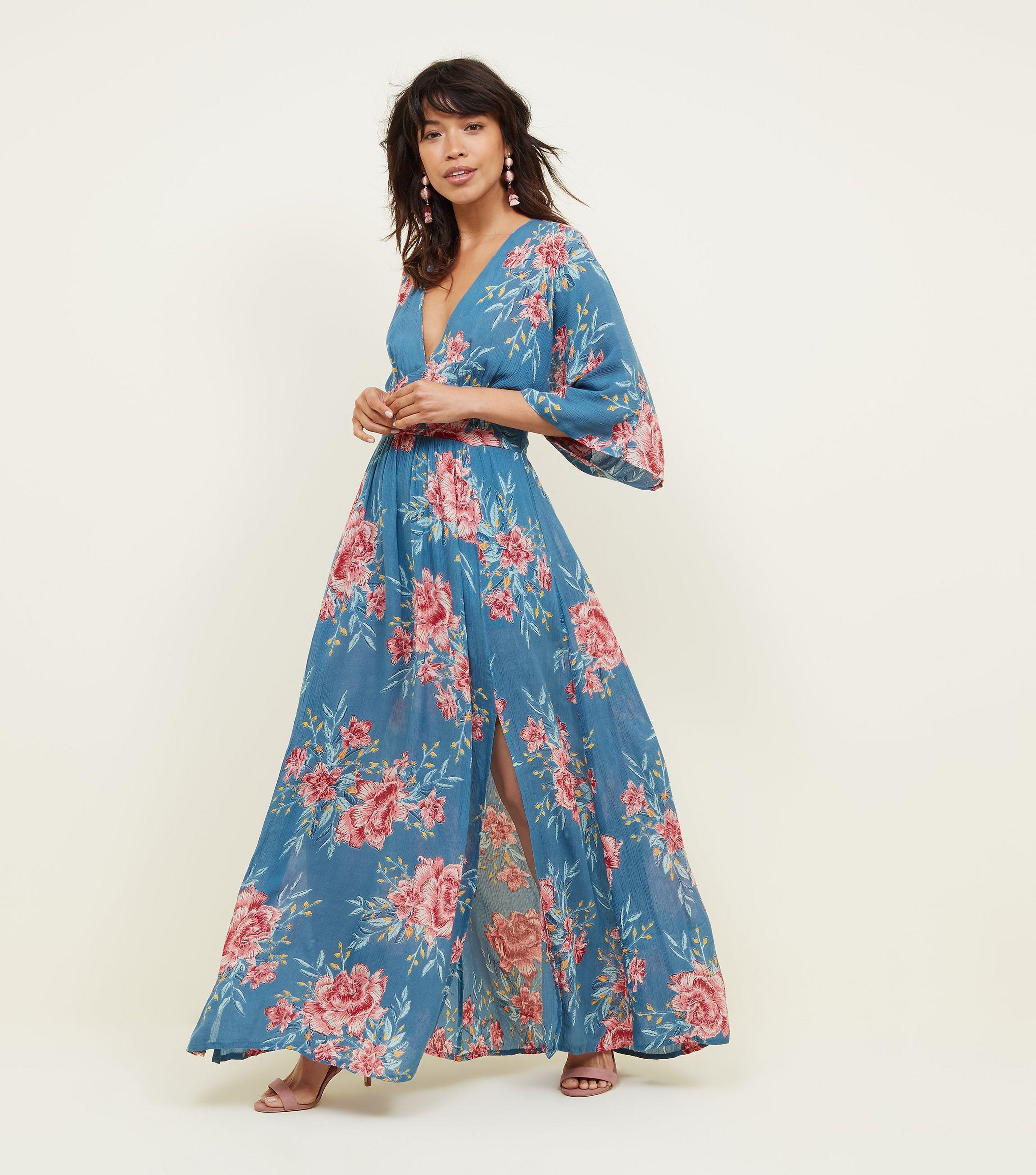 d573c0d24 New Look Blue Floral Kimono Sleeve Maxi Dress in Blue - Lyst