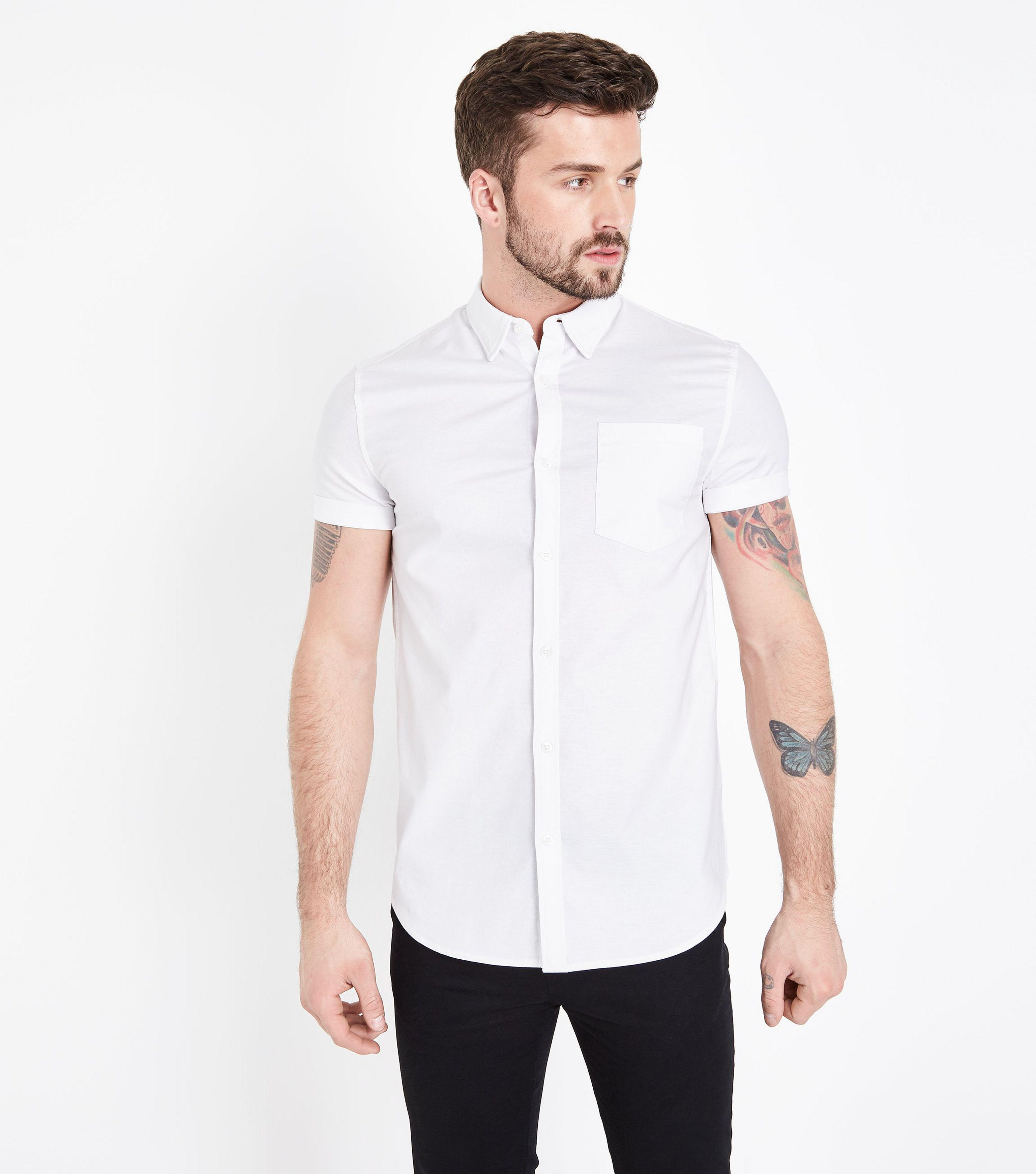 6ea485bc New Look White Short Sleeve Muscle Fit Oxford Shirt in White for Men ...