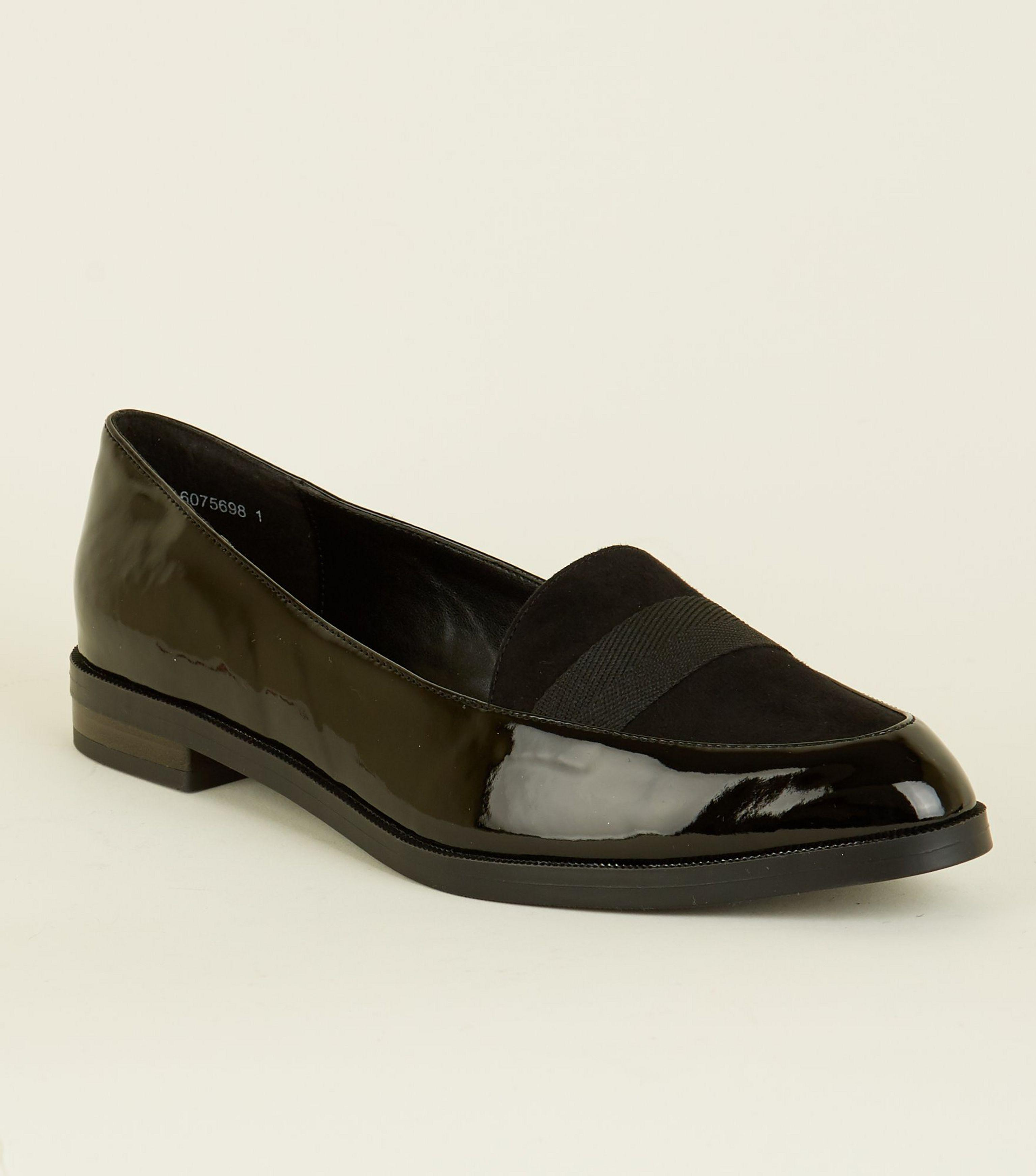 1986441432b New Look Wide Fit Black Patent Contrast Fabric Loafers in Black - Lyst