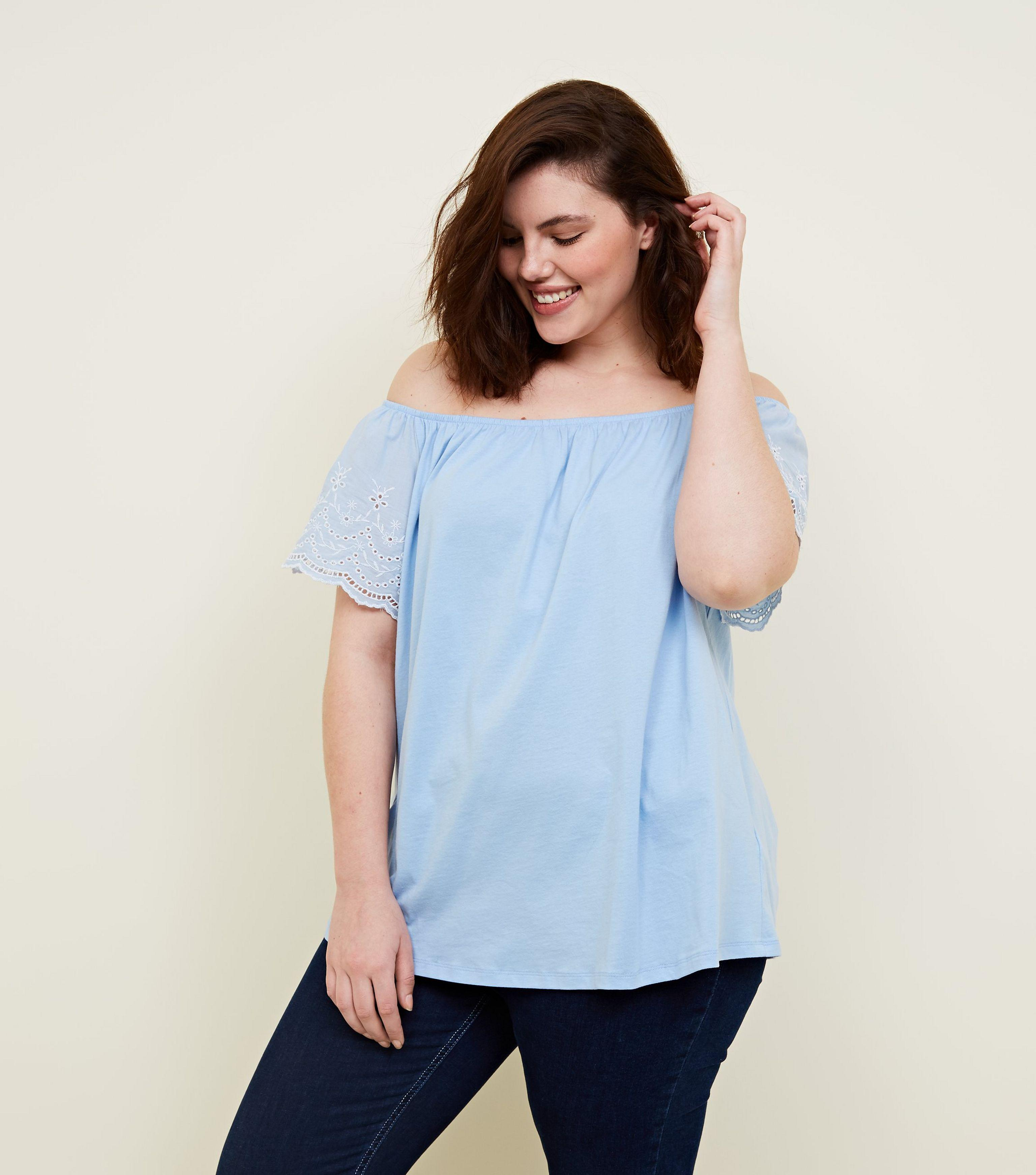 8235d985261 New Look Curves Pale Blue Broderie Sleeve Bardot T-shirt in Blue - Lyst