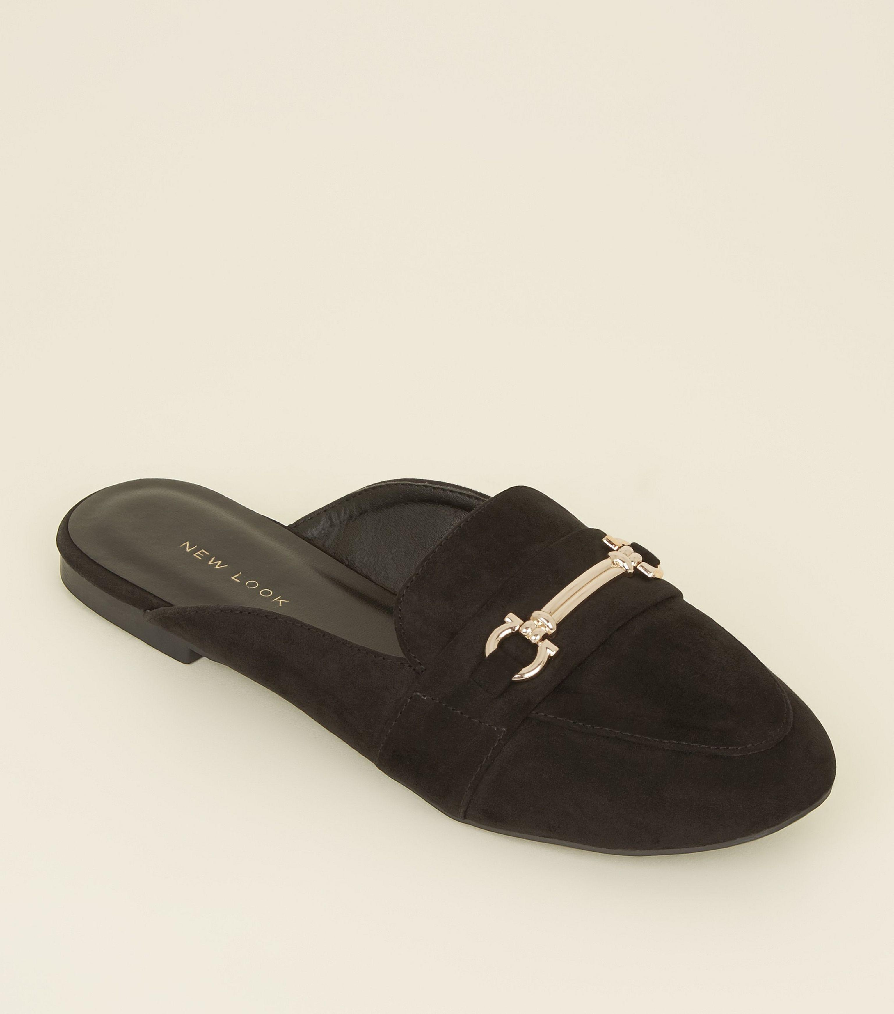 b01d0e84aafd1 New Look Black Suedette Bar Front Loafer Mules in Black - Lyst