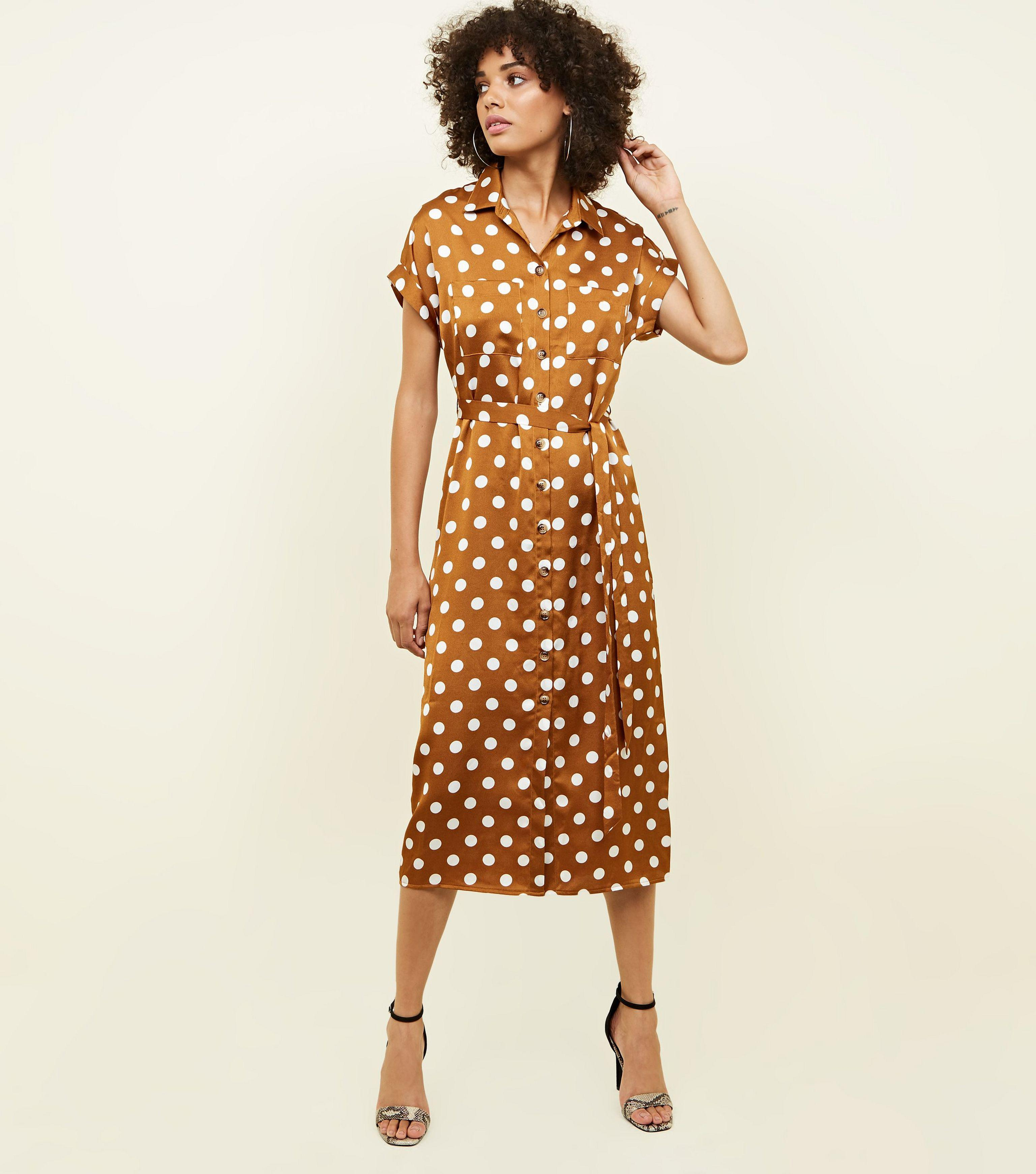 bf07b46625 New Look Orange Spot Print Satin Midi Shirt Dress in Orange - Lyst