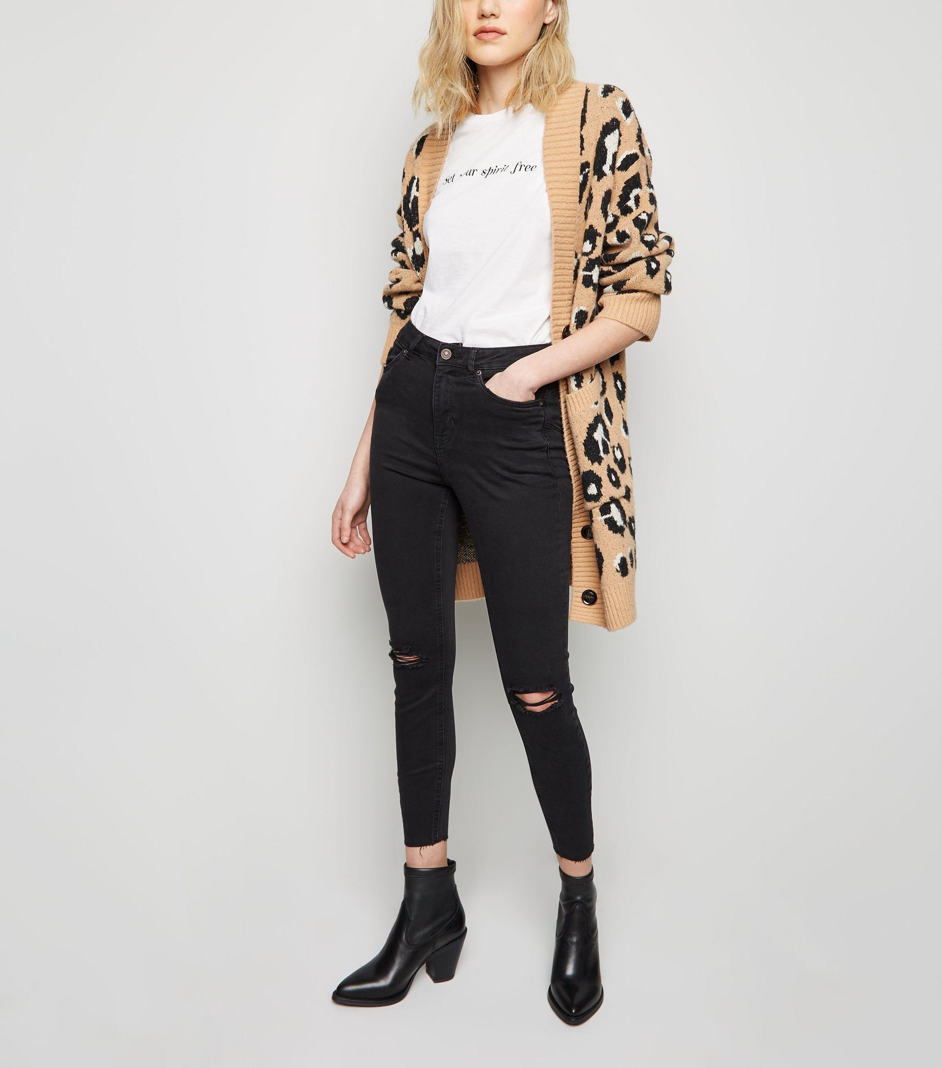 92b67db28 New Look Black 'lift & Shape' Ripped Skinny Jeans in Black - Lyst