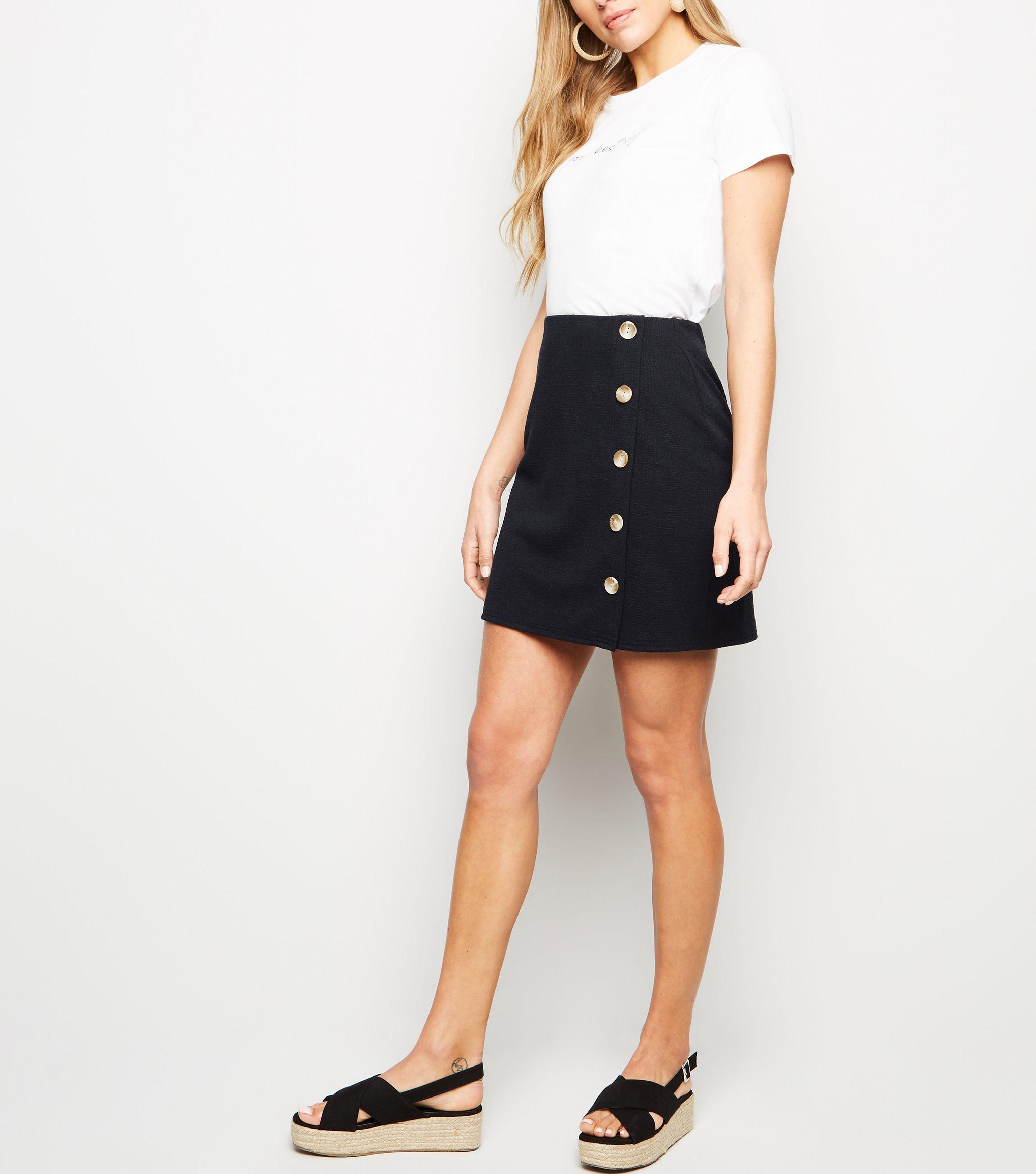 df9ebc6b6 New Look Black Crosshatch Side Button Mini Skirt in Black - Save 42 ...