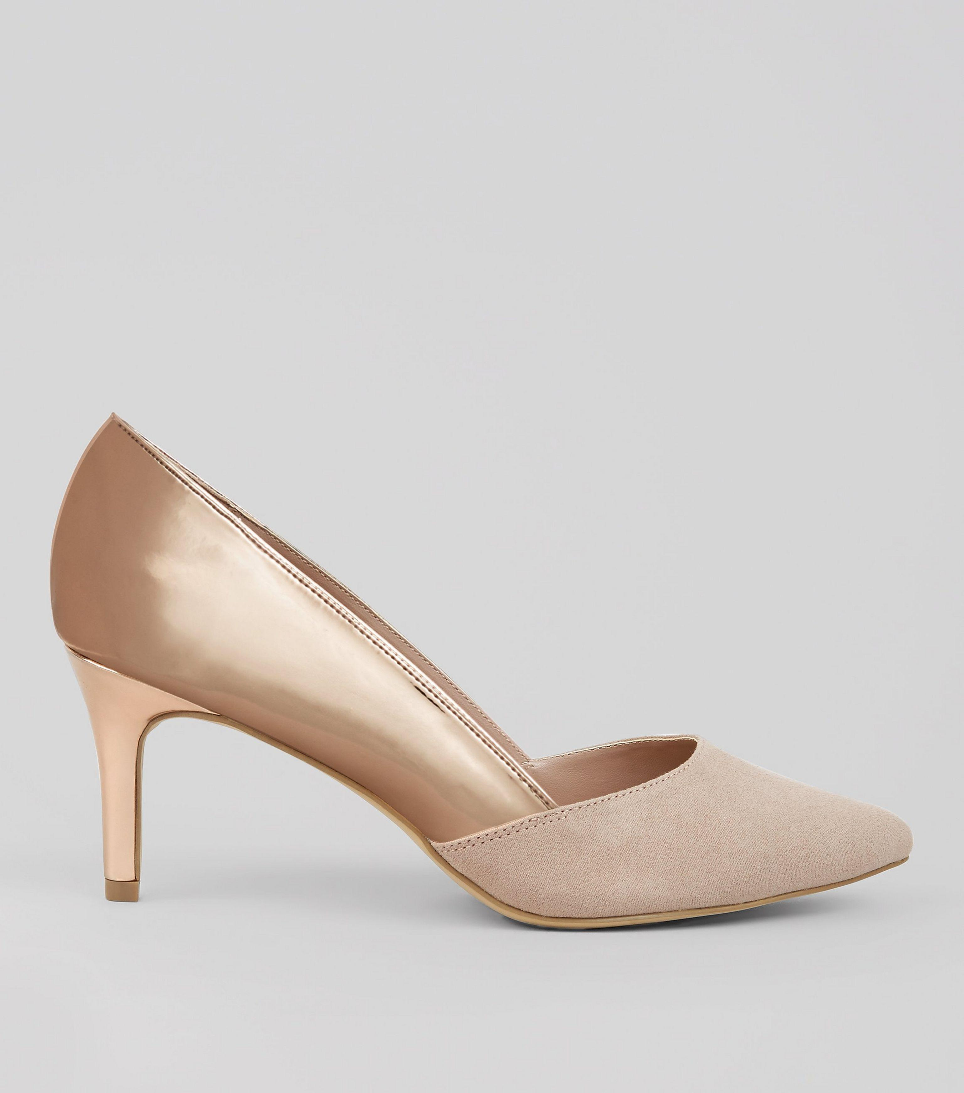 a9ba5aacf75 New Look Wide Fit Rose Gold Metallic Panel Court Shoes - Lyst