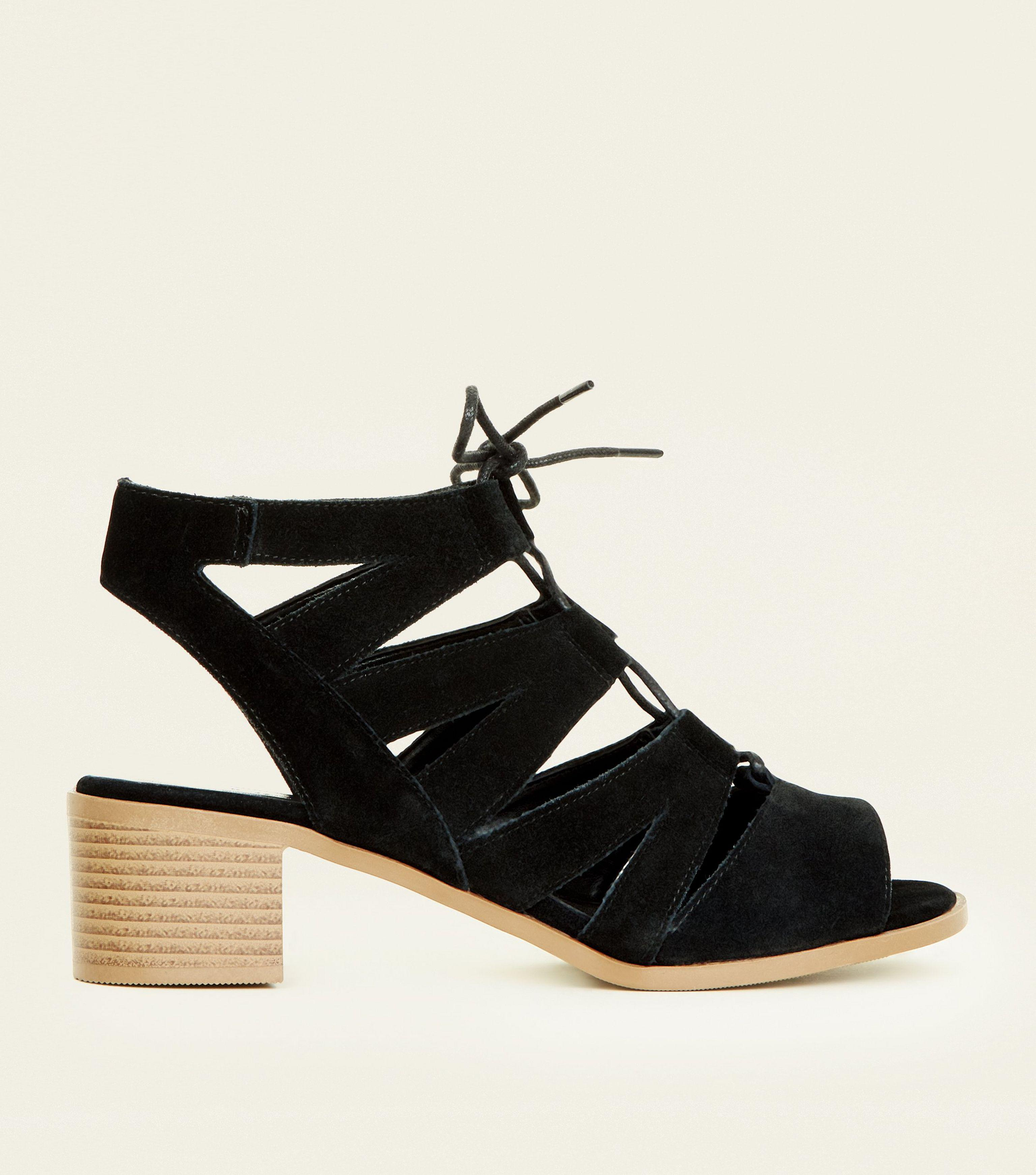 1e706e8b1c5 New Look Black Suede Low Block Heel Ghillie Sandals in Black - Lyst