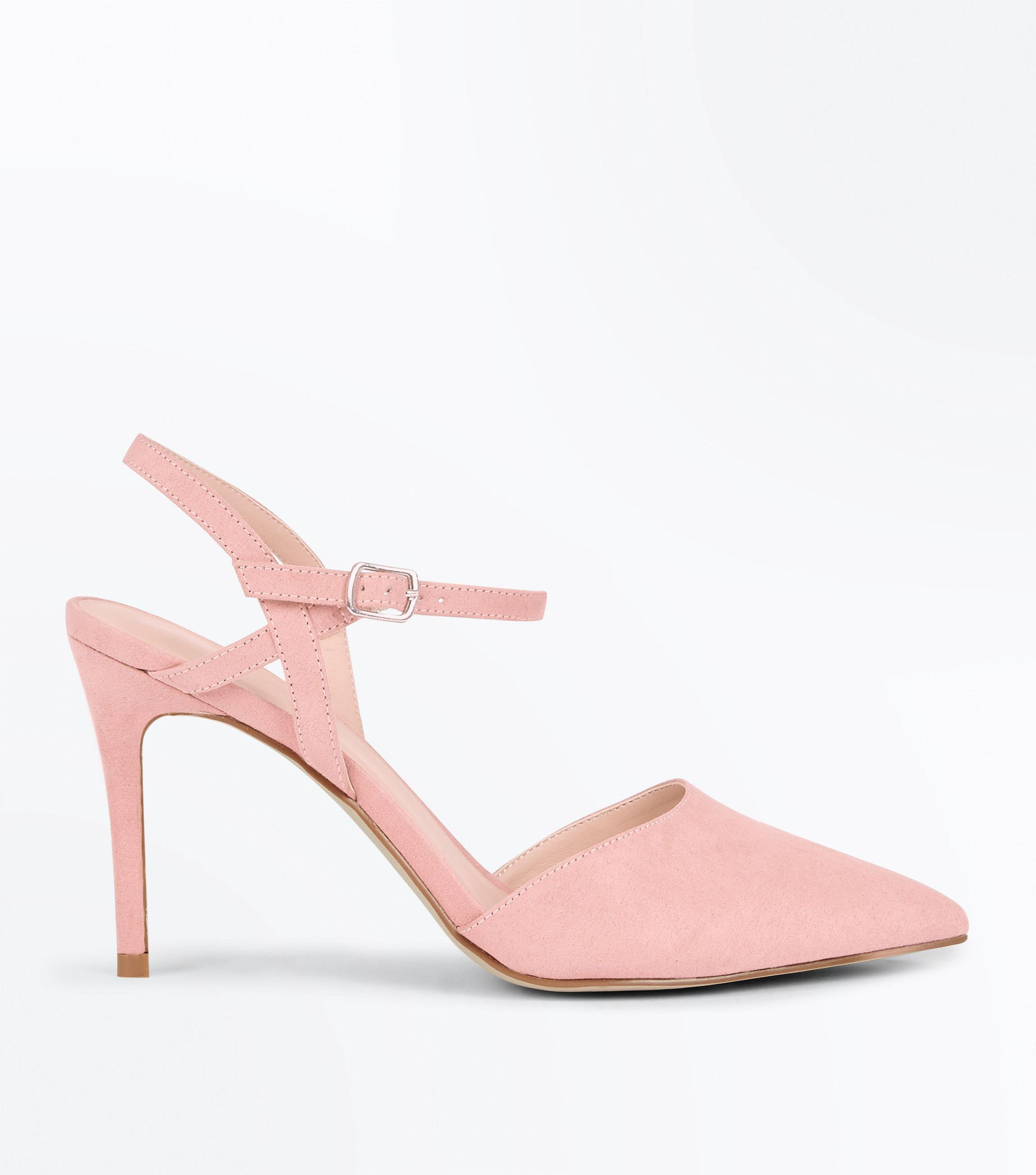 804d8ad2e72 New Look Pale Pink Suedette Ankle Strap Pointed Court Shoes