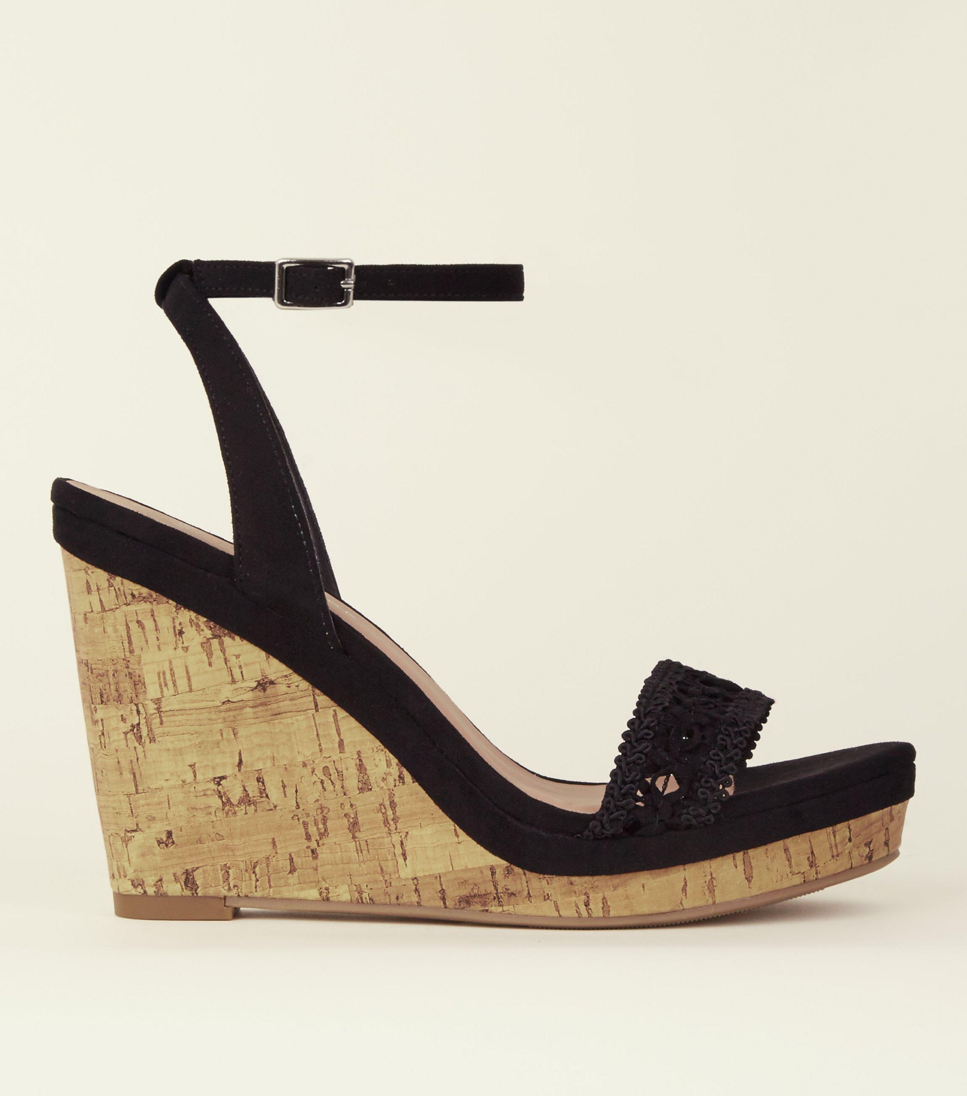 d5357851110 New Look Wide Fit Black Suedette Crochet Strap Cork Wedges in Black ...
