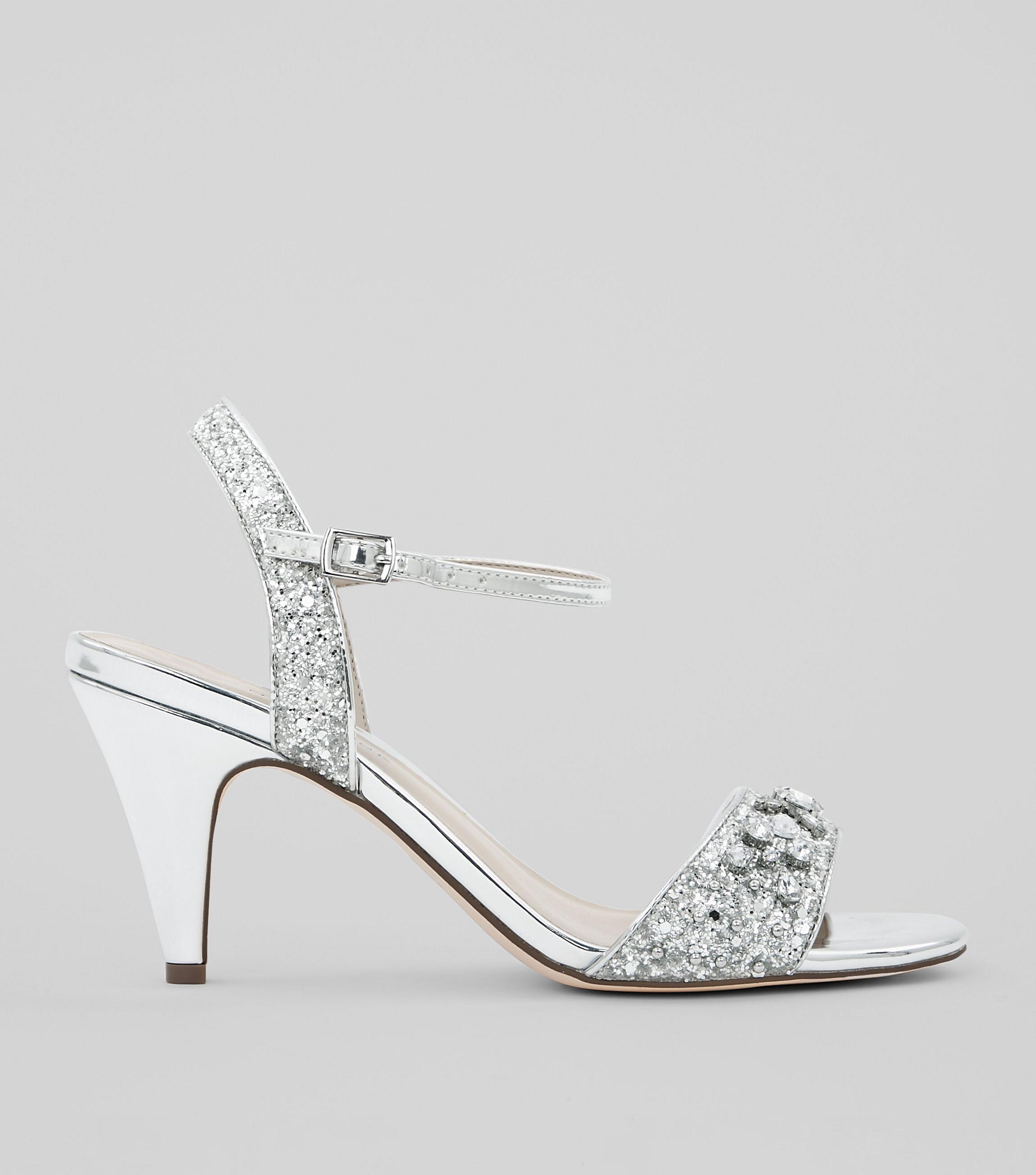 wide fit silver diamante sandals