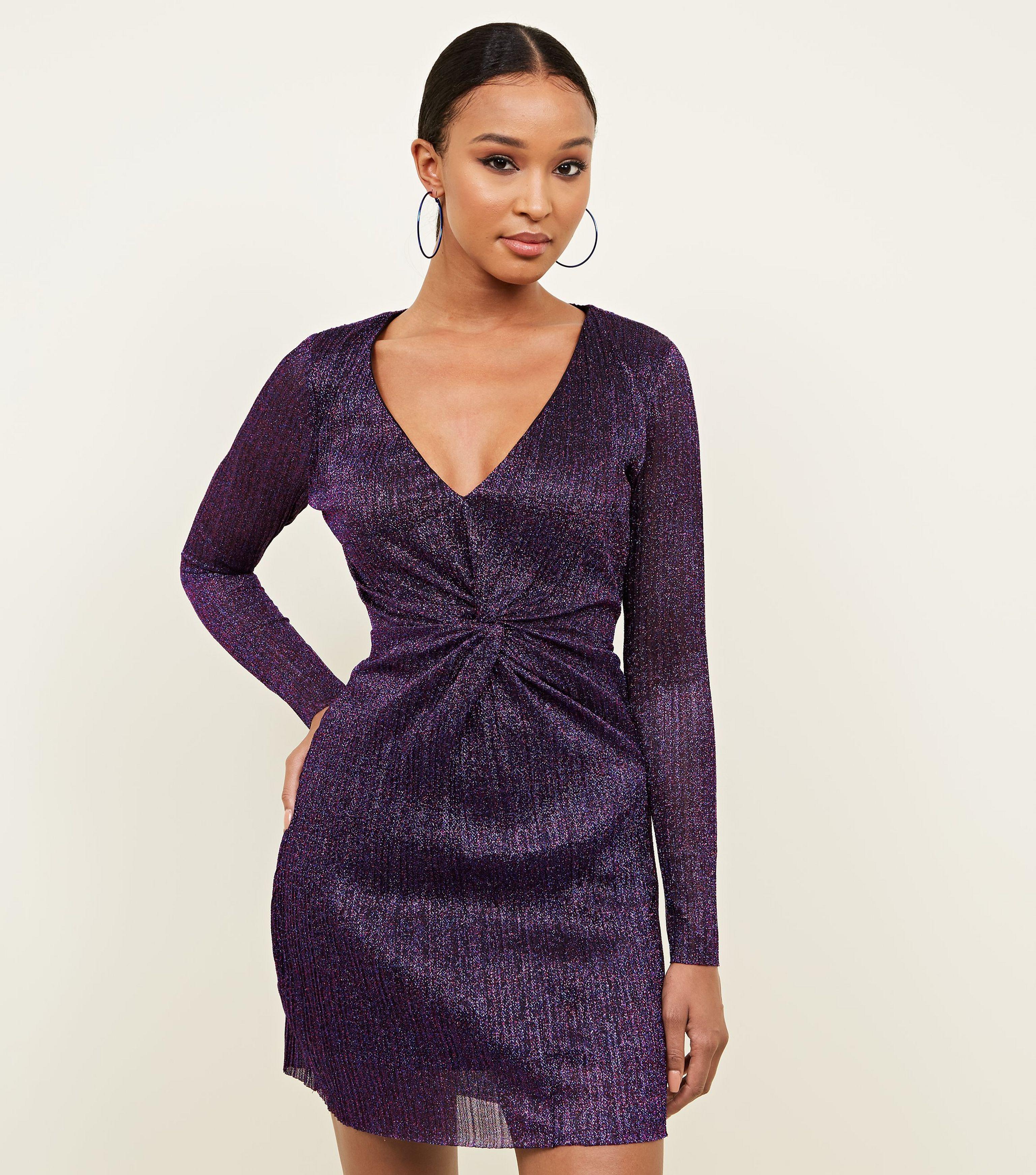 4e21a4d2 New Look Purple Glitter Plissé Twist Front Mini Dress in Purple - Lyst