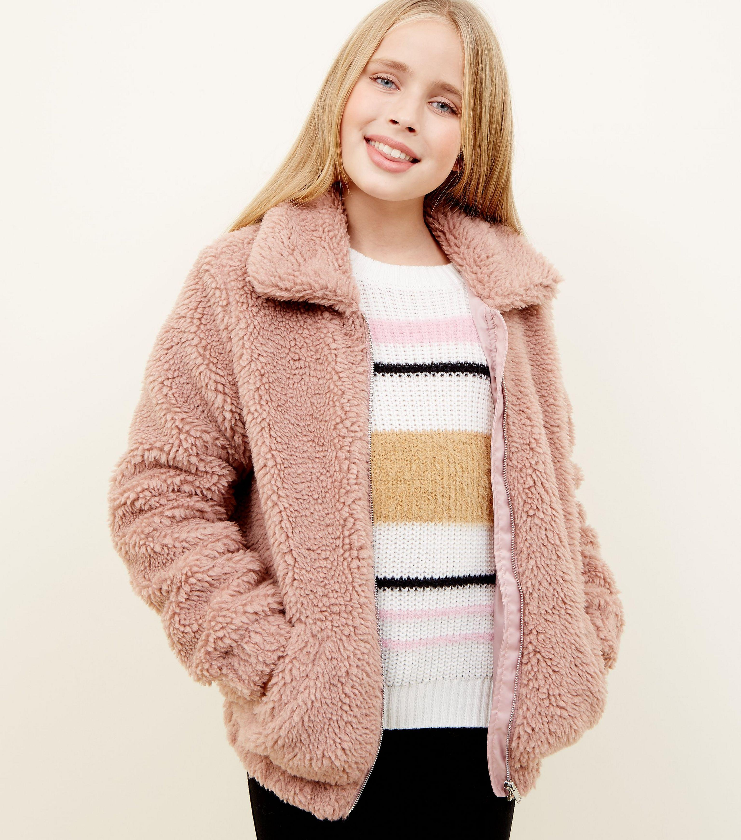 Girls Pink Oversized Teddy Borg Jacket