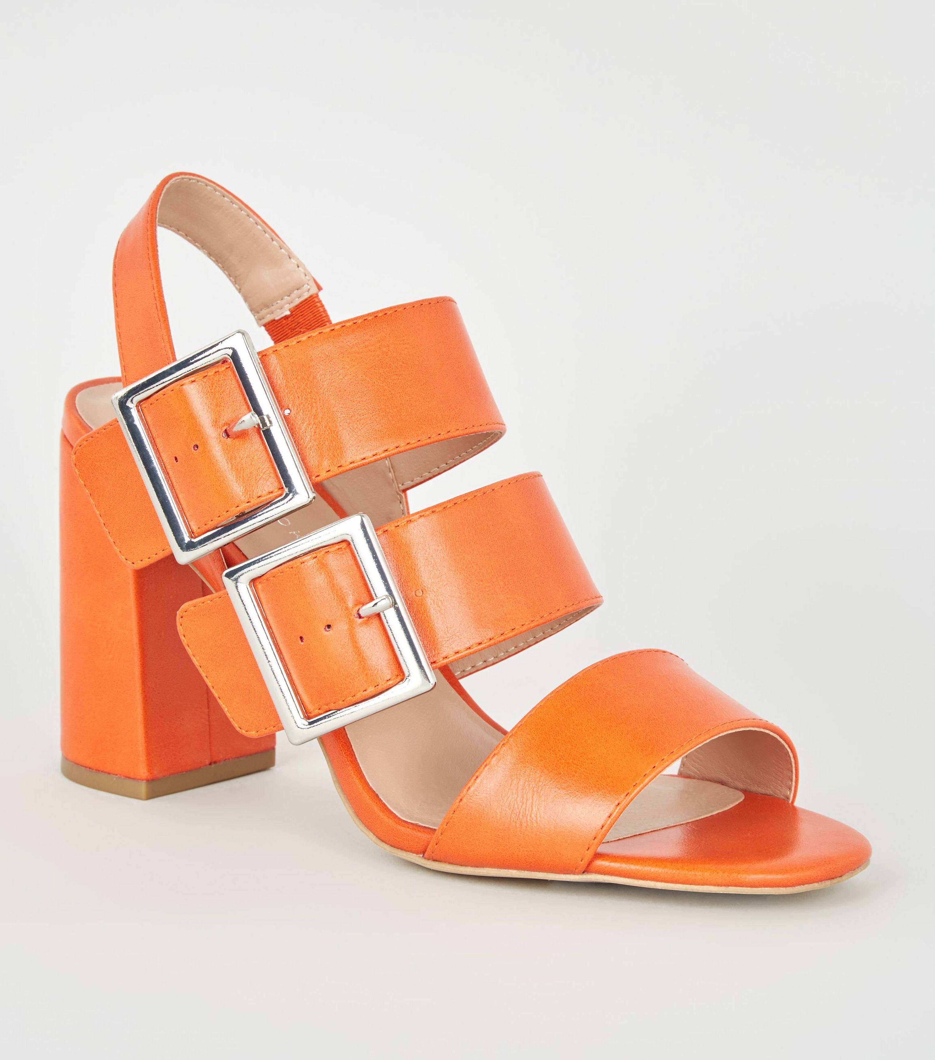 0a3d3621e41 Women's Orange Double Buckle Block Heels