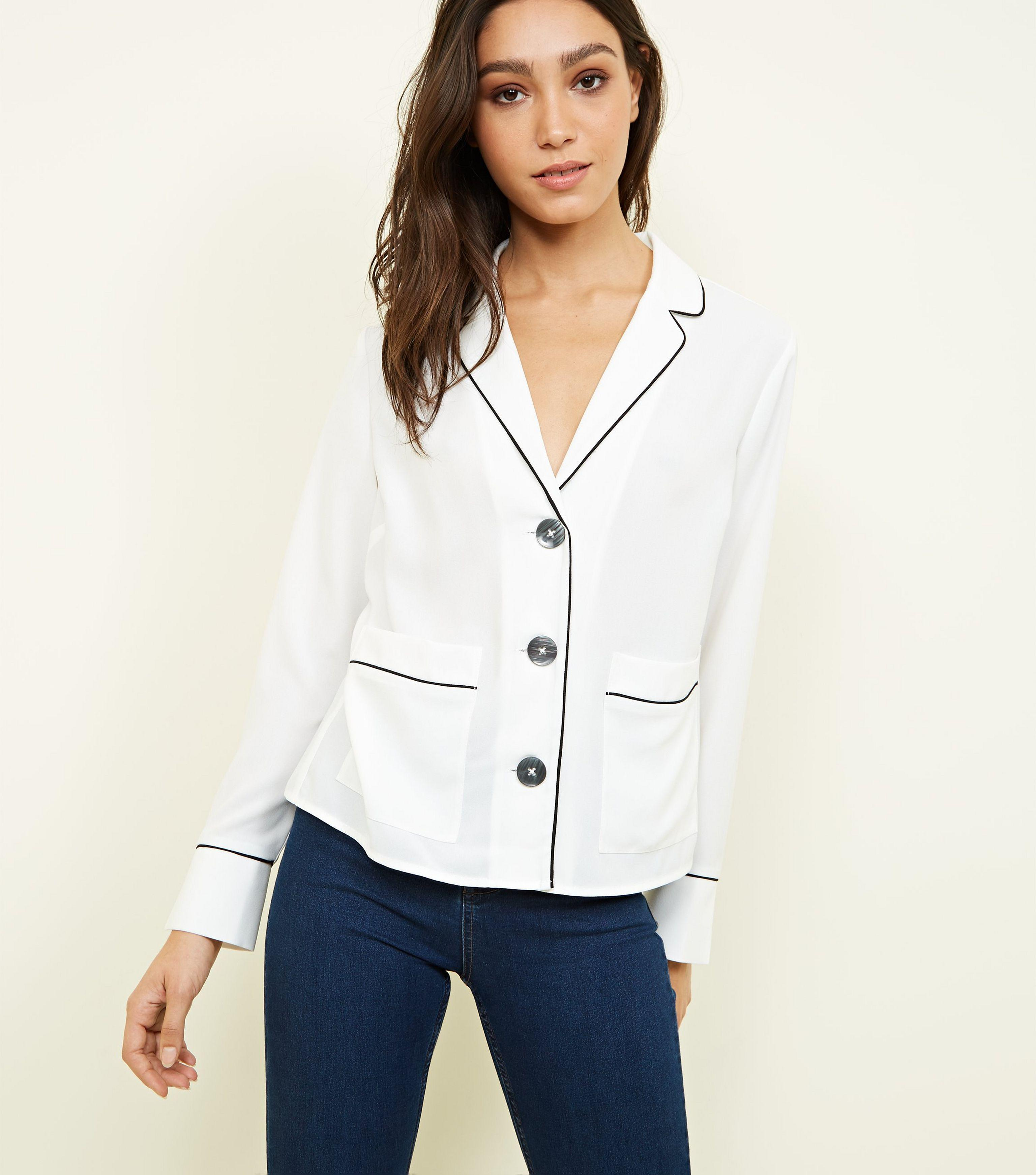 39fc1e309ab795 New Look Off White Piped Edge Pyjama-style Shirt in White - Lyst