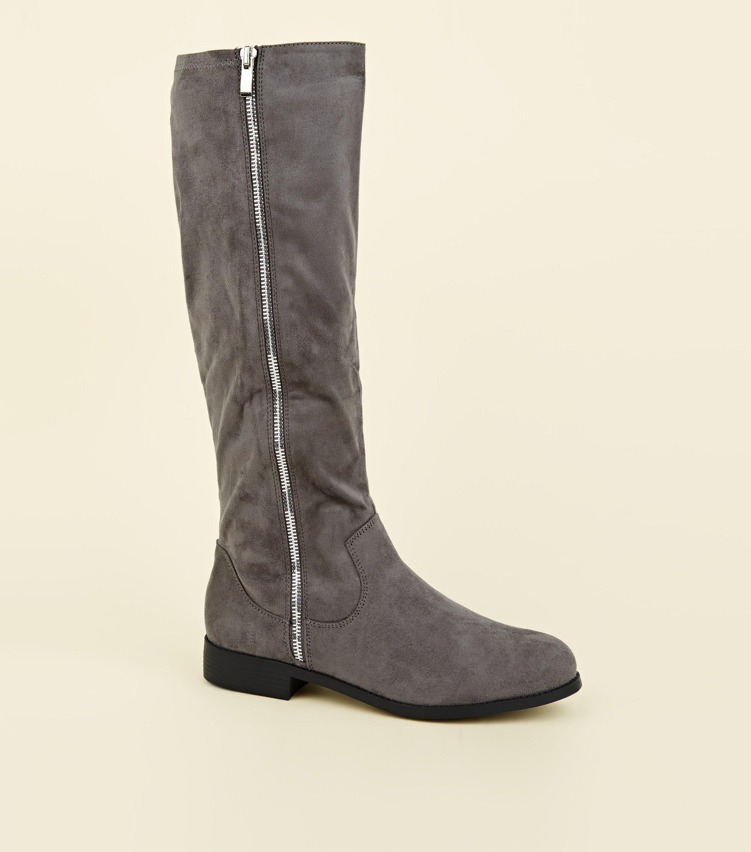 6838c3e9bd1 New Look Grey Extra Calf Fit Zip Side Knee High Flat Boots in Gray ...