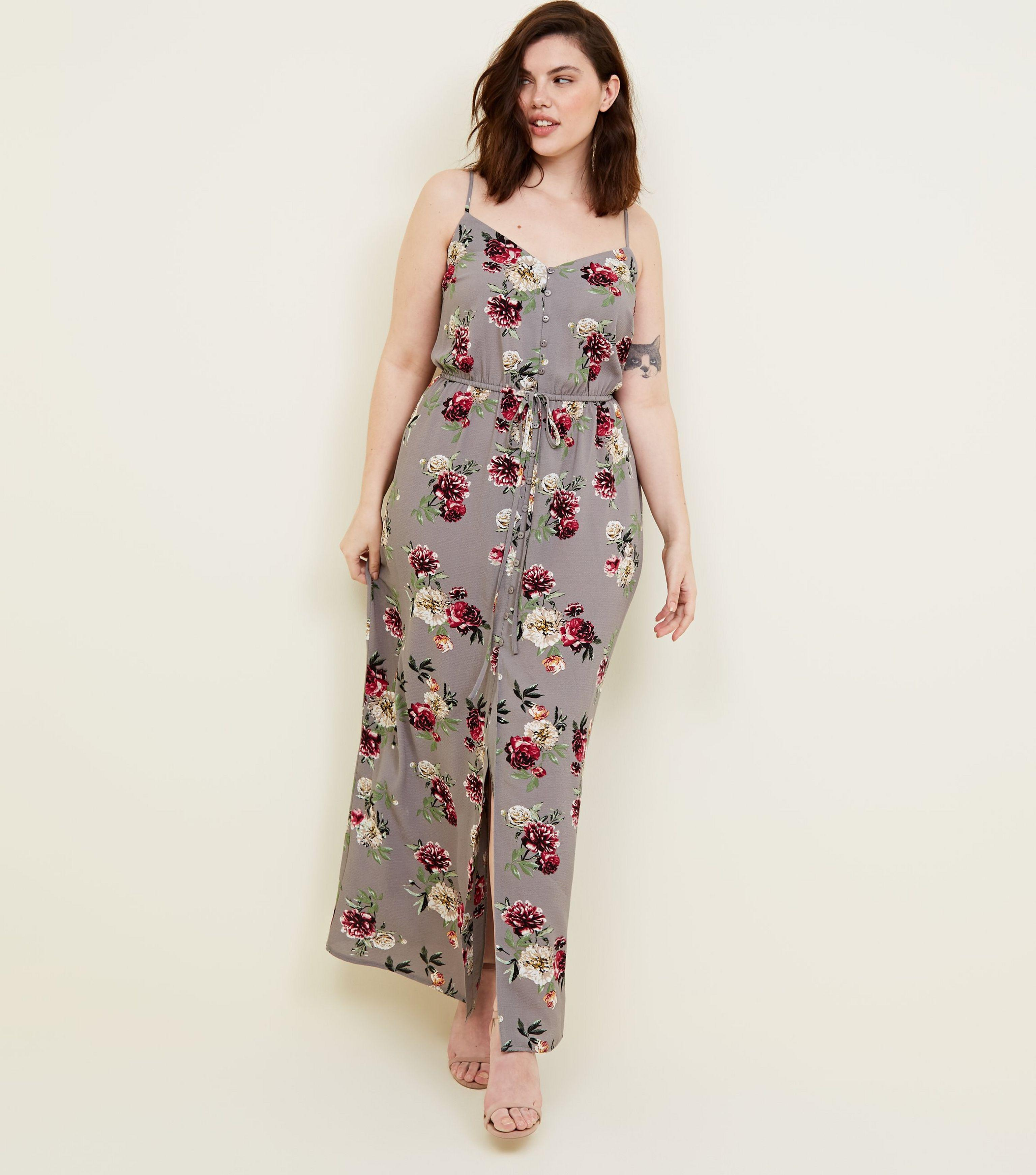 34878dca30 New Look Curves Grey Floral Button Front Maxi Dress in Gray - Lyst