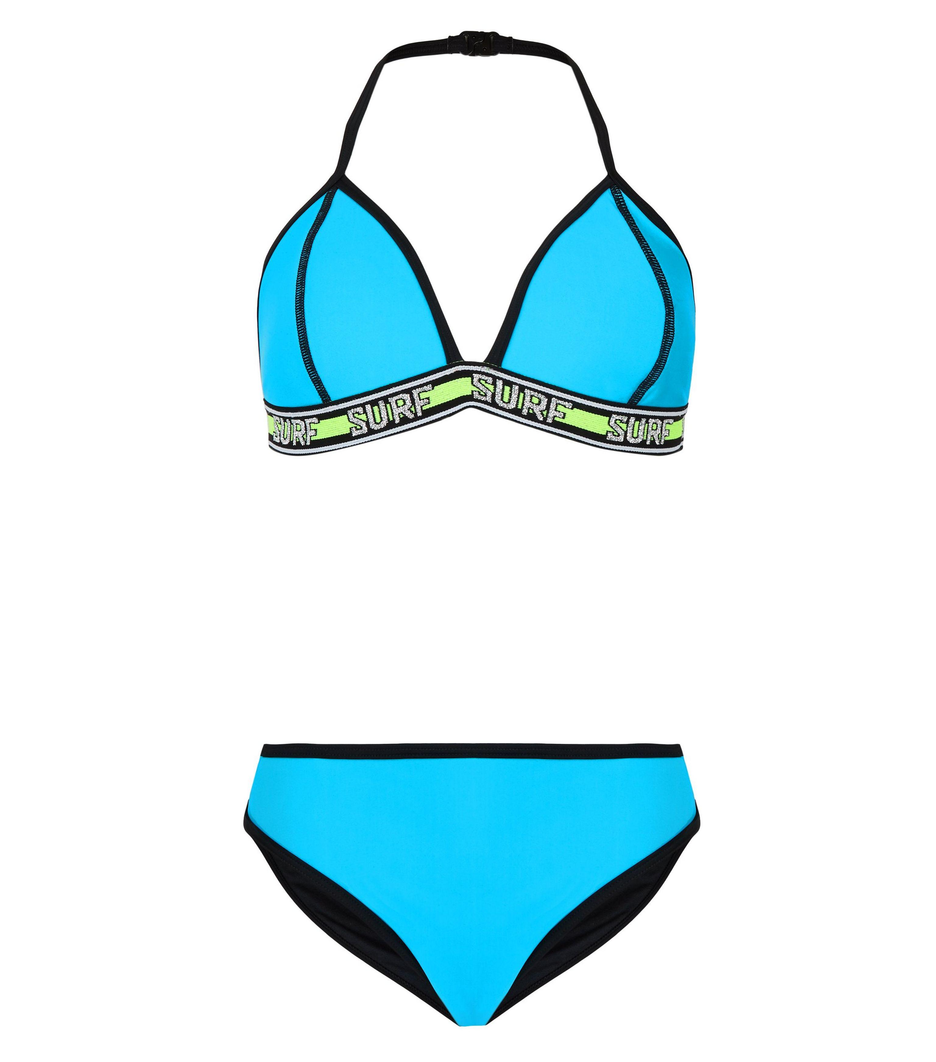 hot-selling latest promo codes favorable price New Look Synthetic Girls Turquoise Neon Surf Tape Bikini Set ...