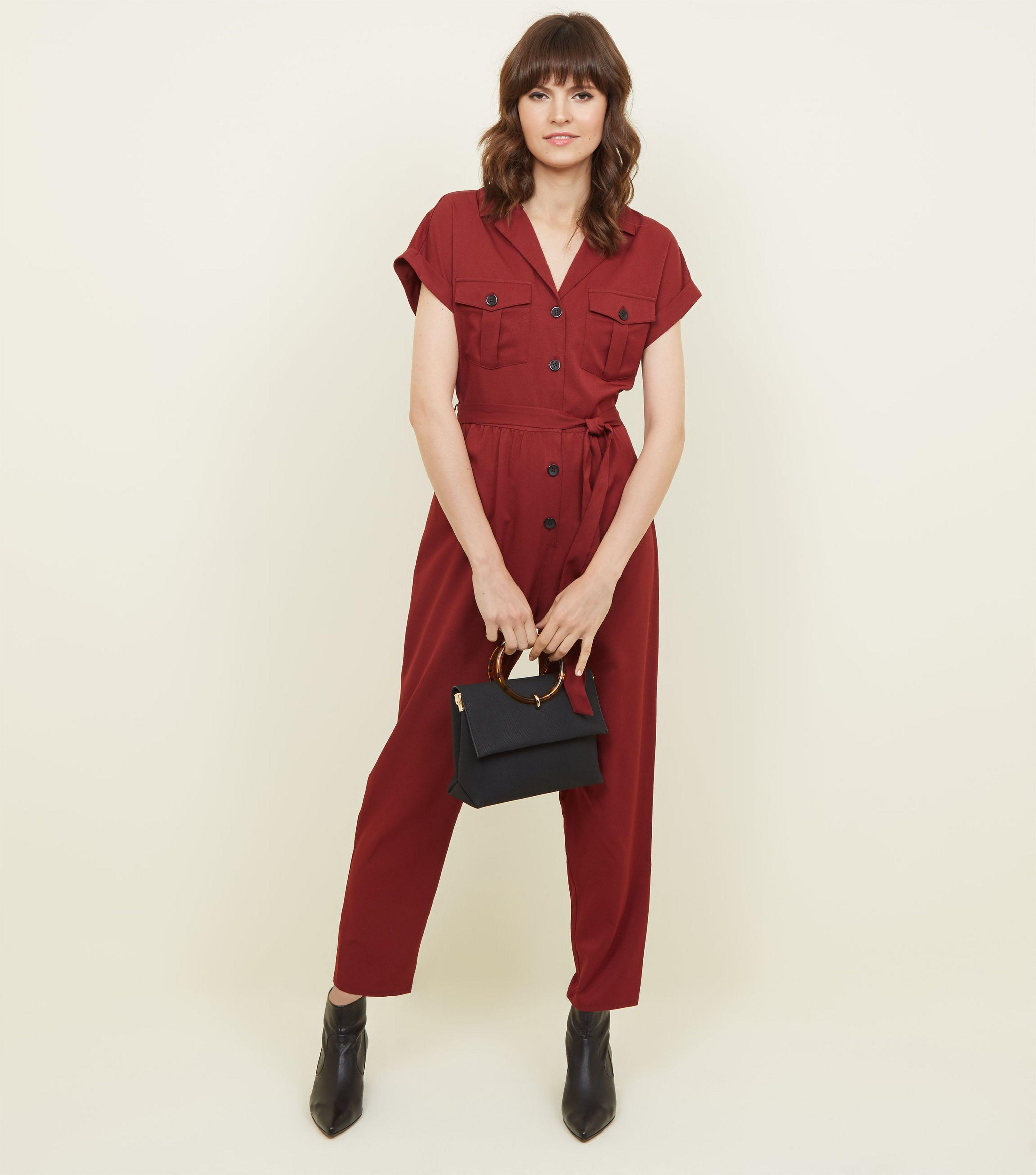 d5bb28623652 New Look Plum Twill Button Front Utility Jumpsuit in Red - Lyst