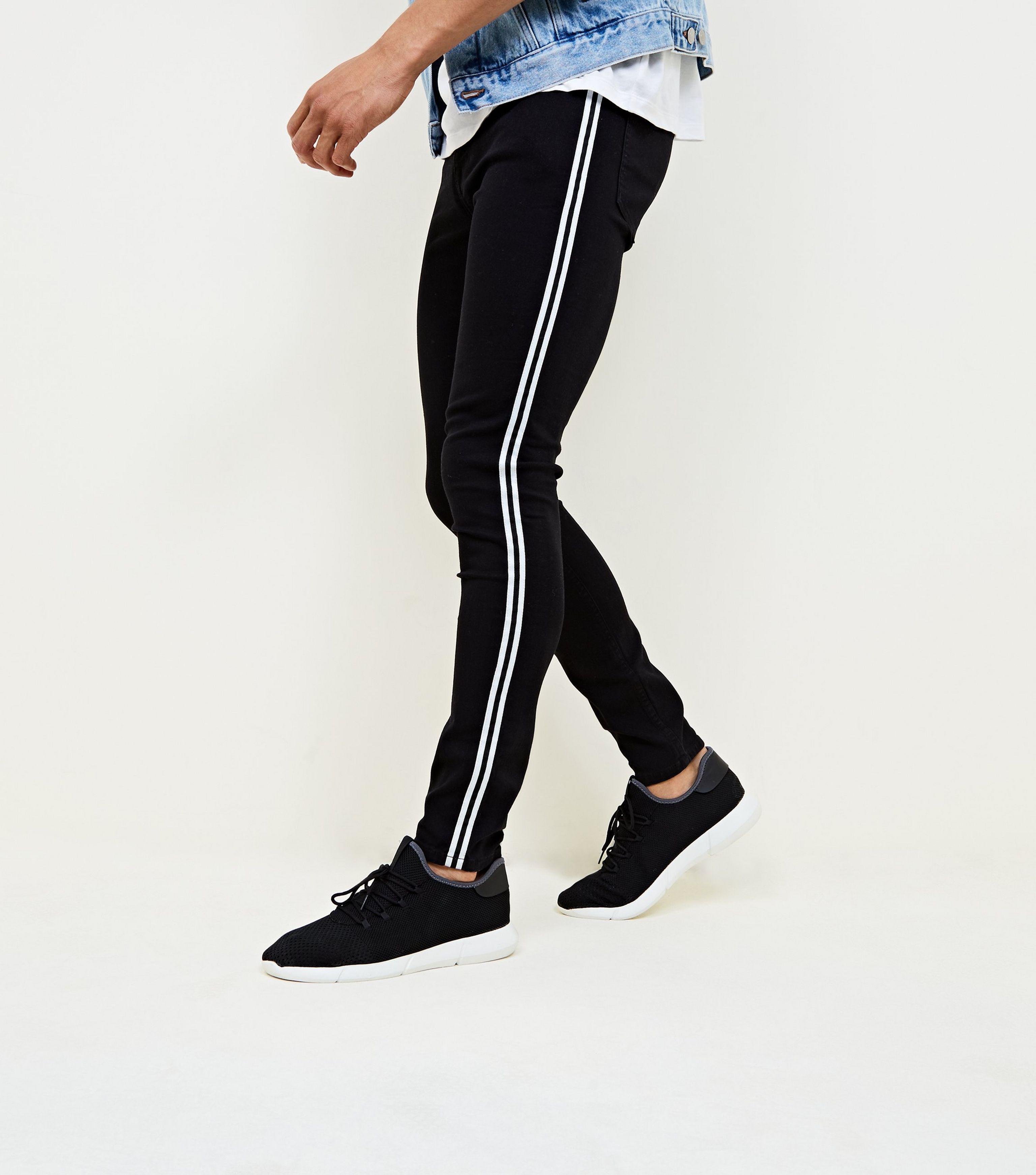 c0d62c00b15a New Look Black Side Stripe Skinny Jeans in Black for Men - Lyst