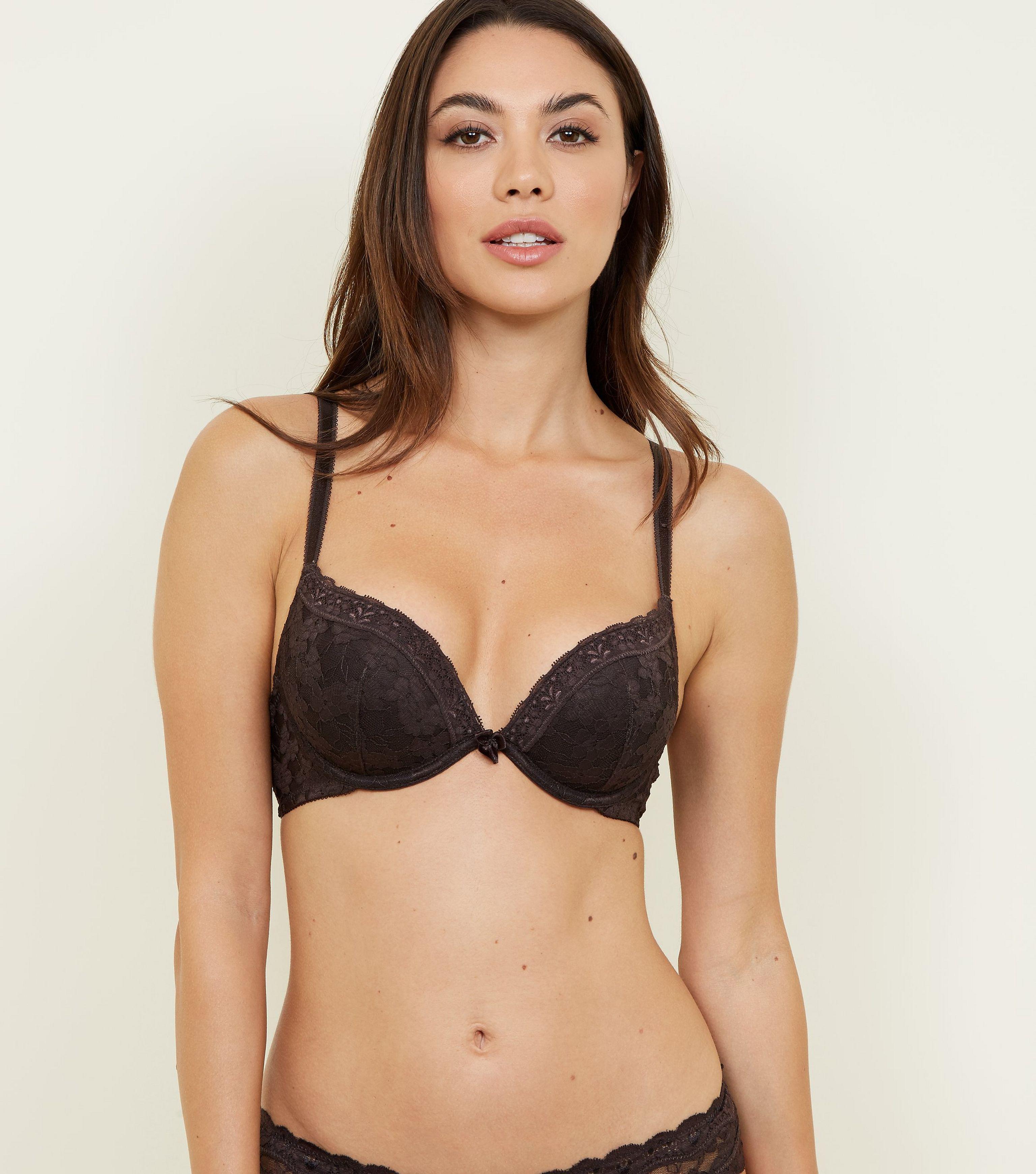 7595dd3302 New Look Dark Brown Lace Push-up Bra in Brown - Lyst
