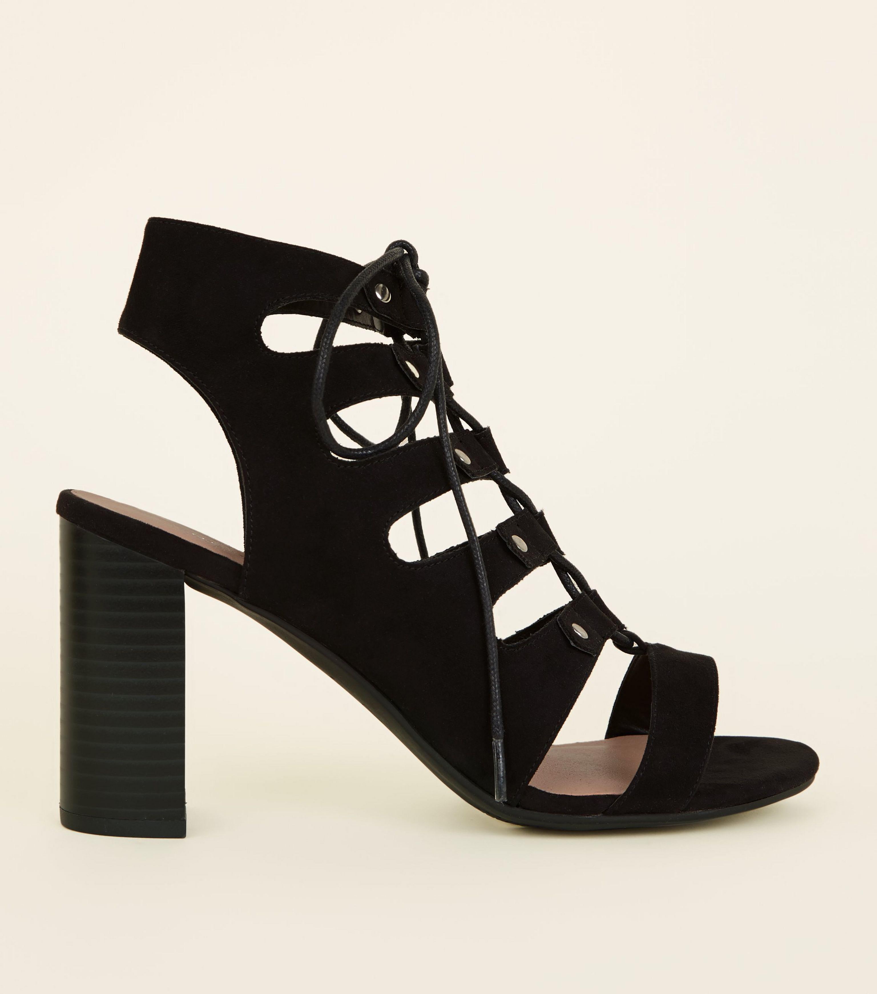 89a5486ad5dc New Look Wide Fit Black Suedette Block Heel Ghillie Sandals in Black ...