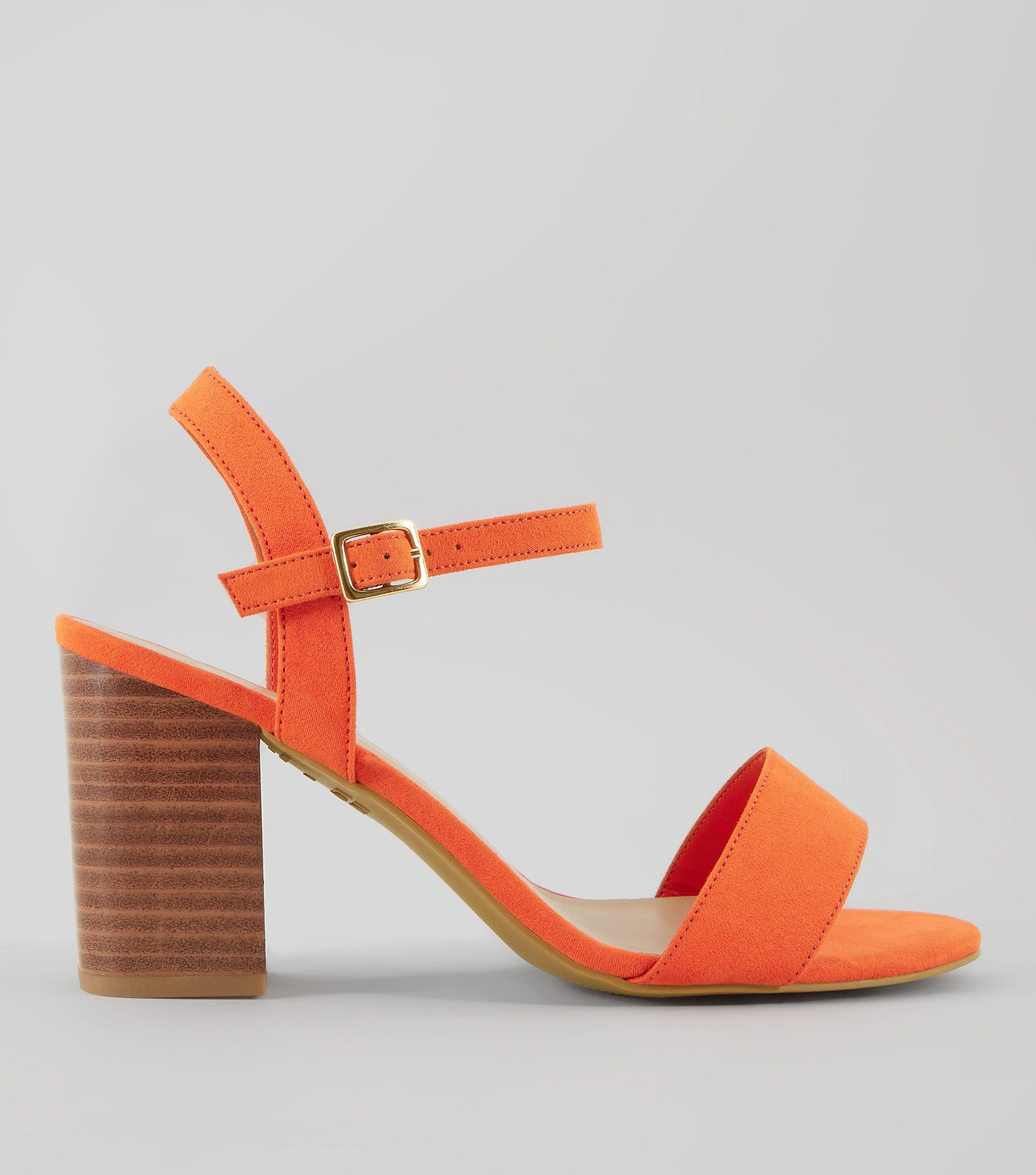 5089801dafe New Look Wide Fit Orange Wooden Block Heels in Orange - Lyst