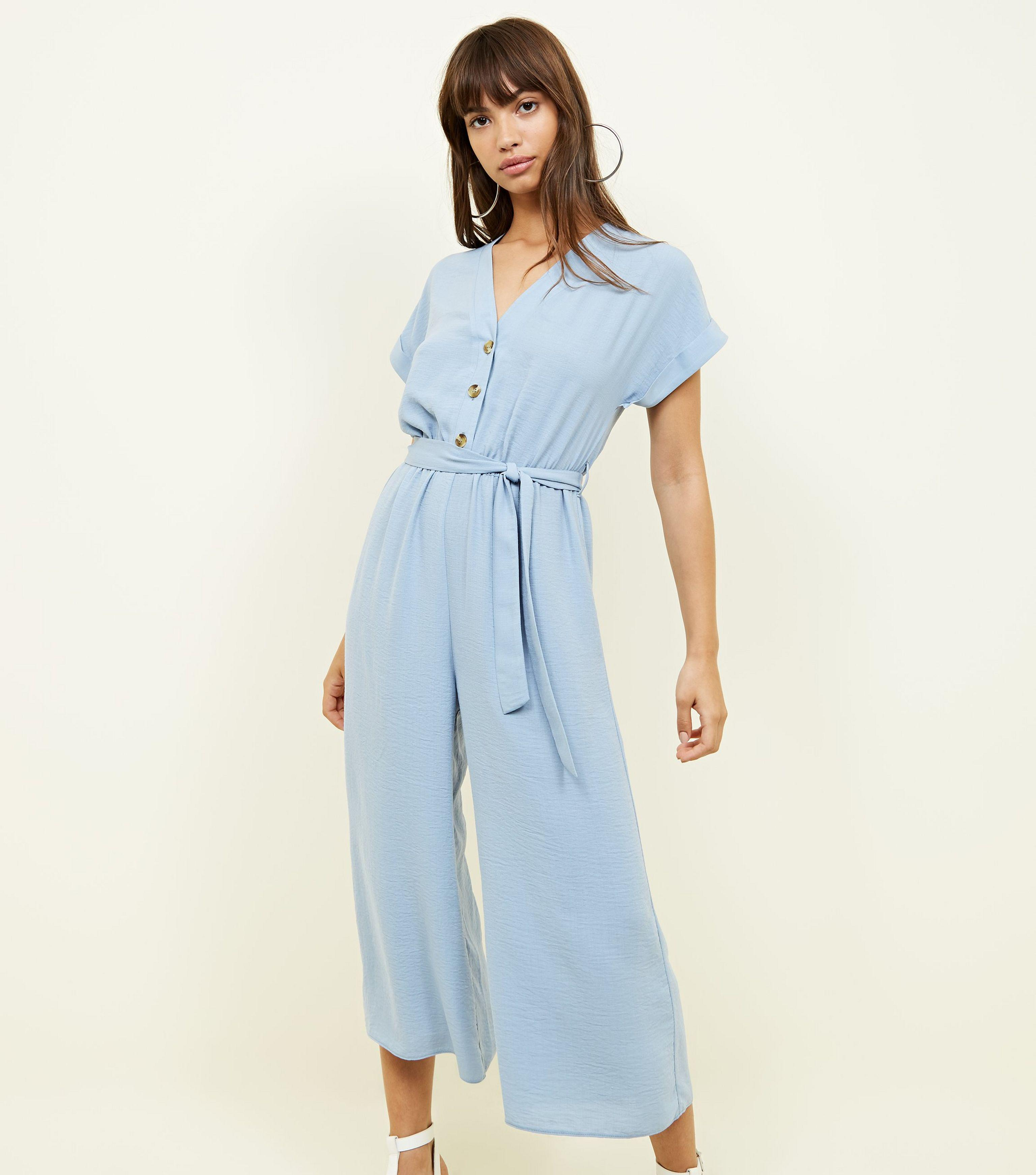 cb9332a32880 New Look Blue Linen-look Button Up Culotte Jumpsuit in Blue - Lyst