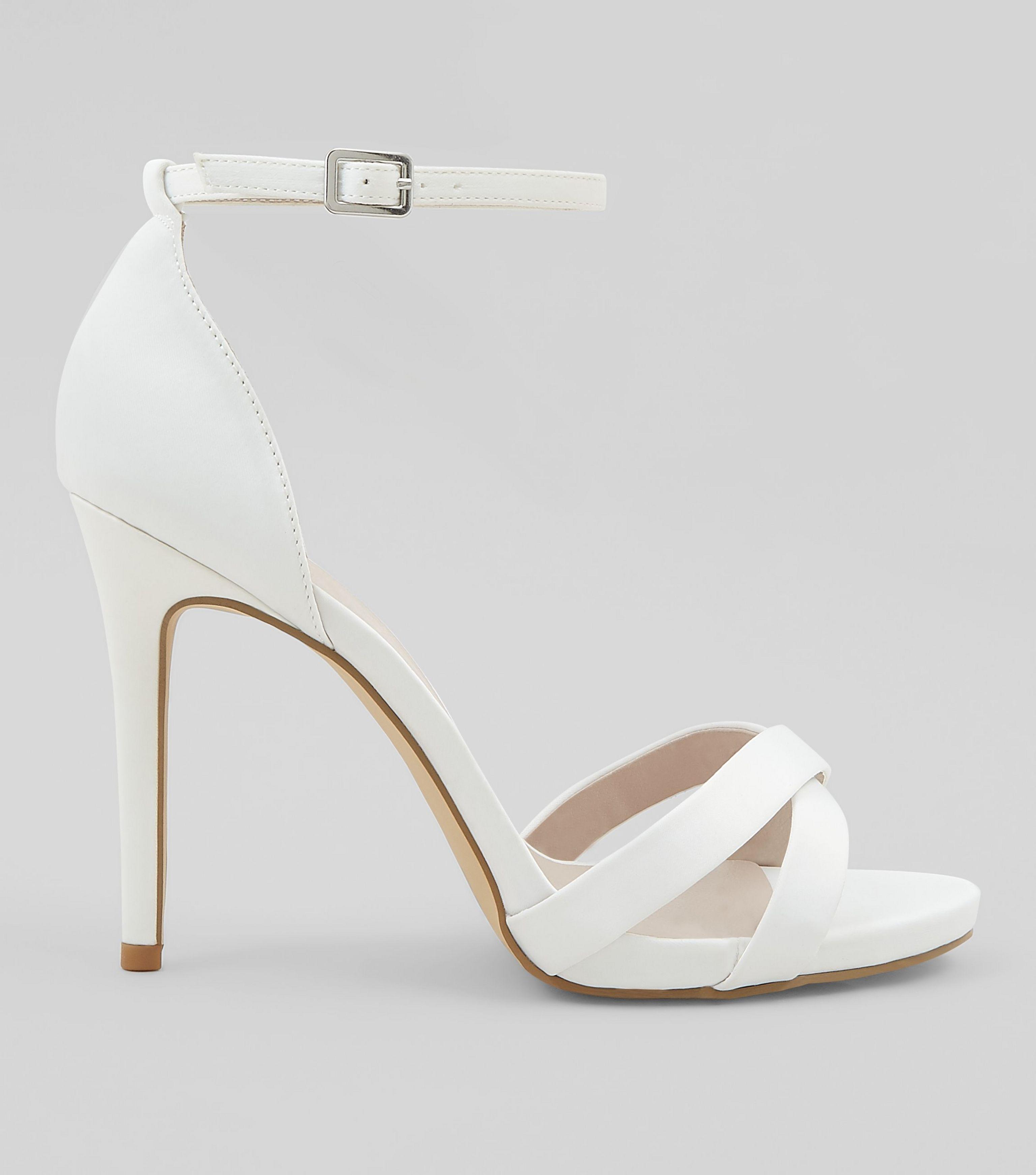 Sateen Cross Strap Heeled Sandals - Lyst