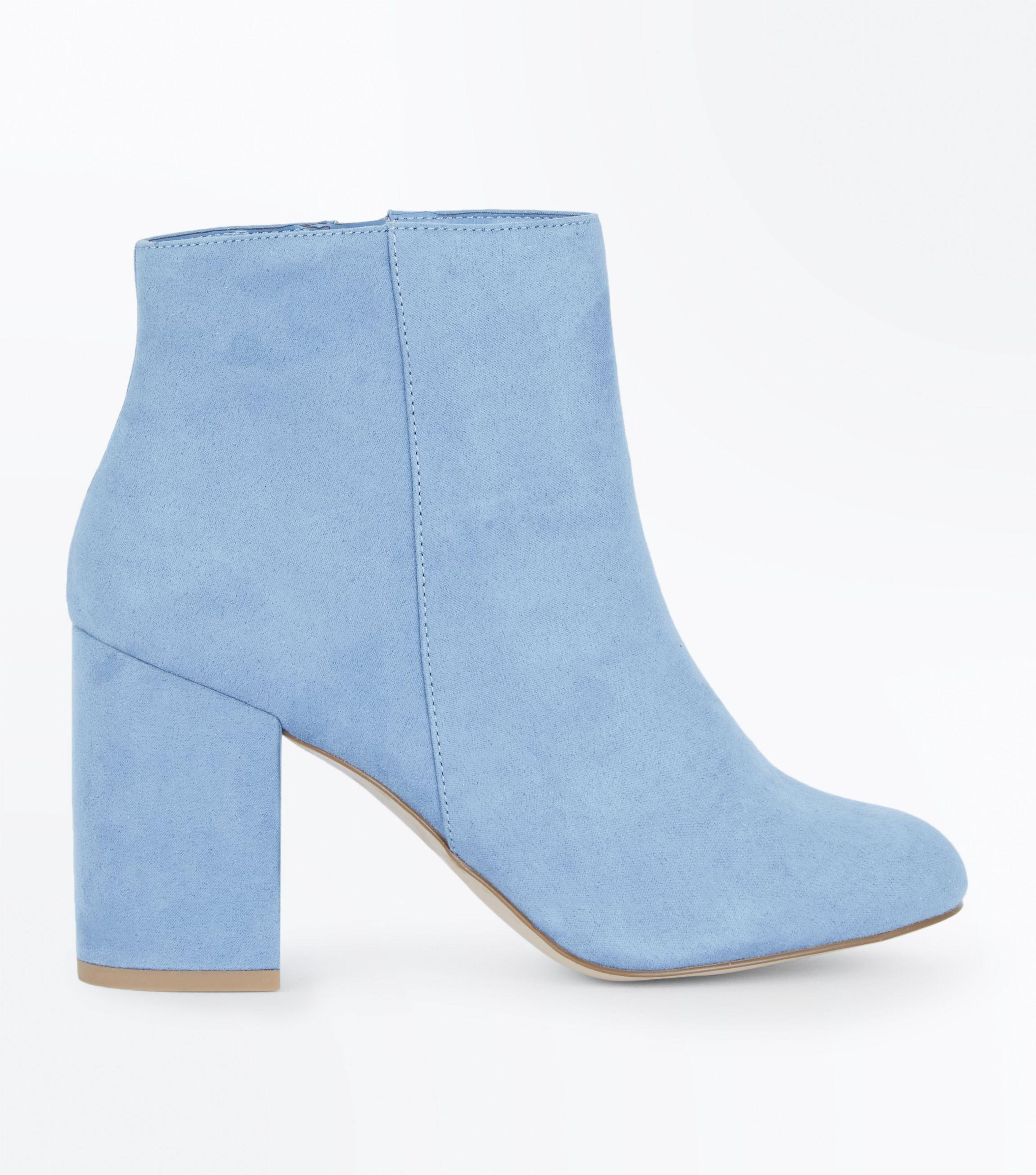 46e5e3b1c9ad5 New Look Pale Blue Suedette Block Heel Ankle Boots in Blue - Lyst