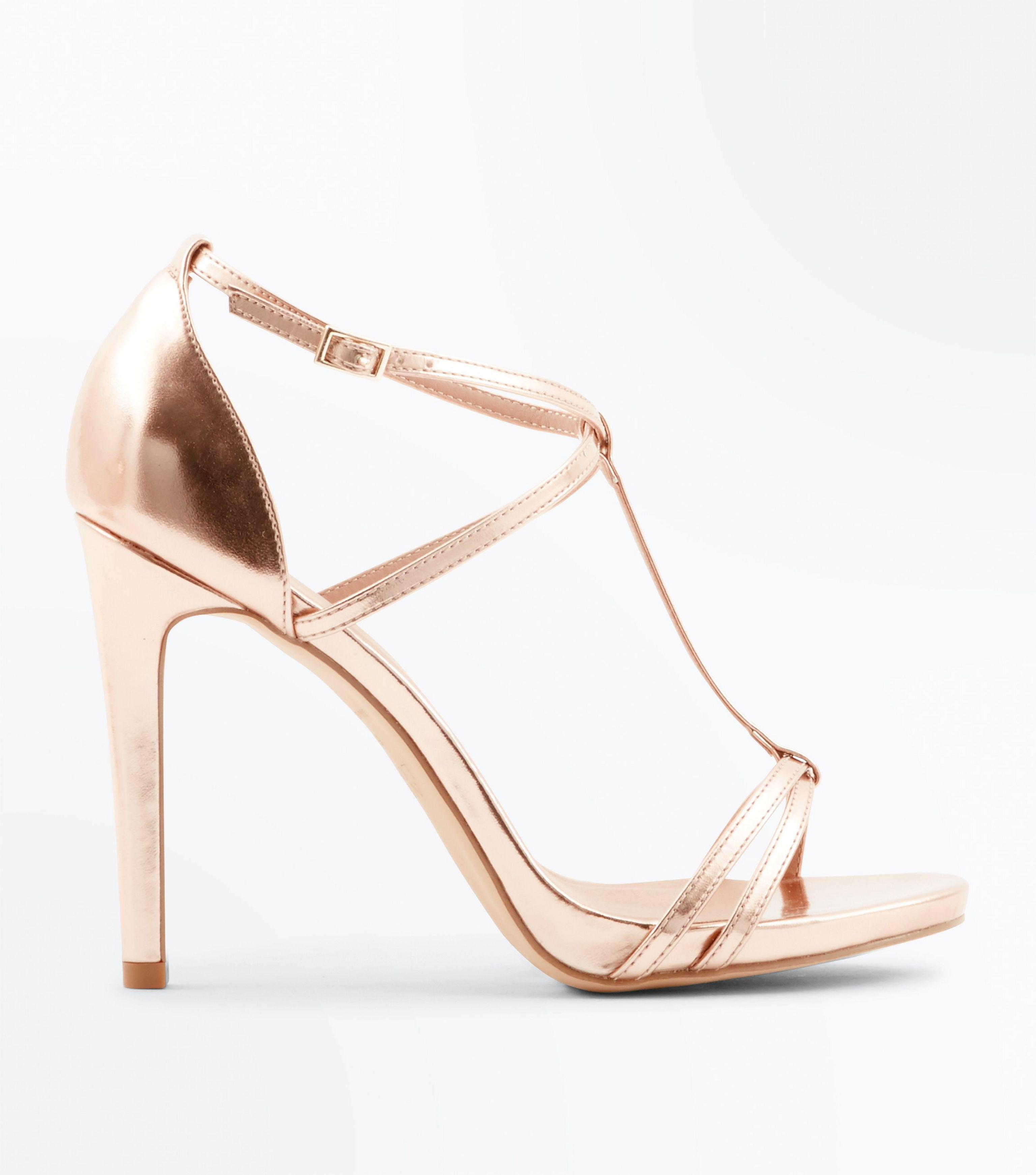 classic style get new quite nice Rose Gold Metallic T-bar Stiletto Sandals
